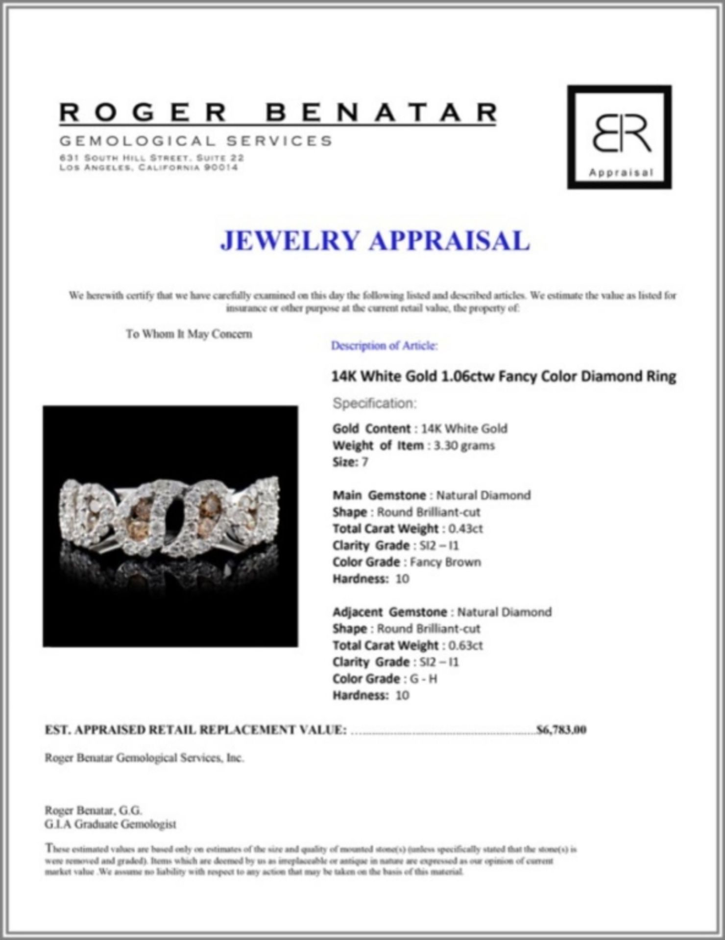 14K White Gold 1.06ctw Fancy Color Diamond Ring - Image 3 of 3