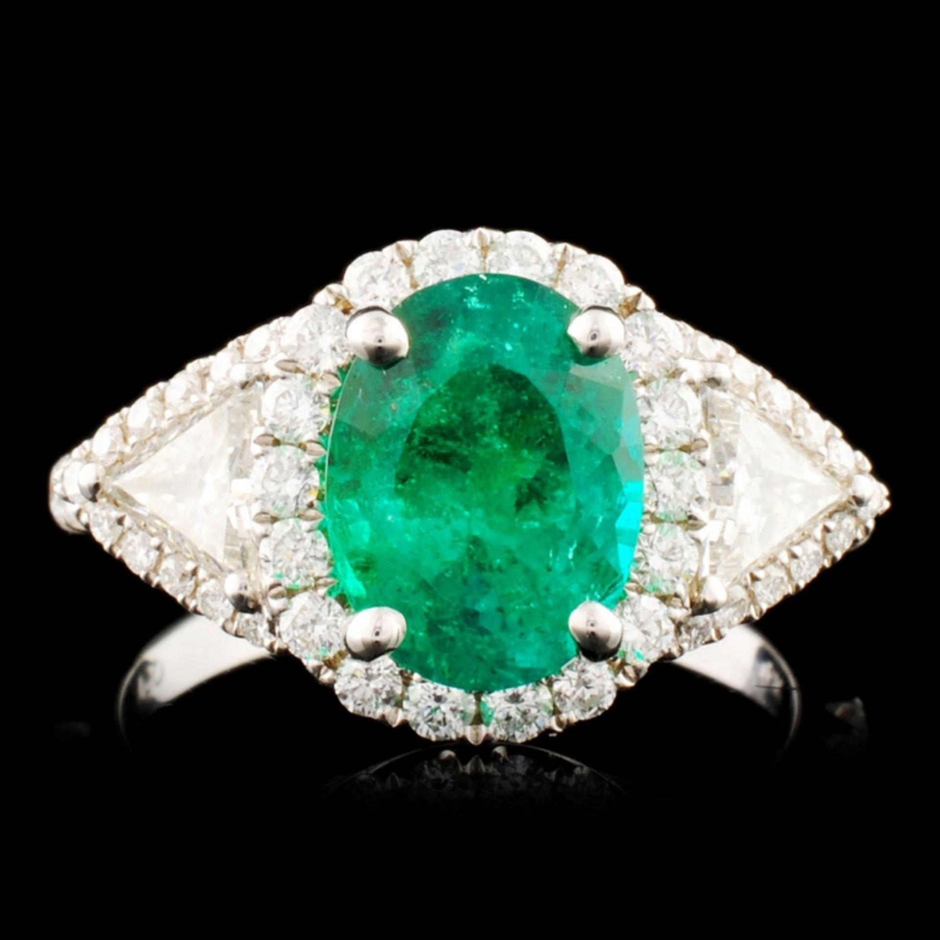 18K Gold 1.96ct Emerald & 0.95ctw Diamond Ring