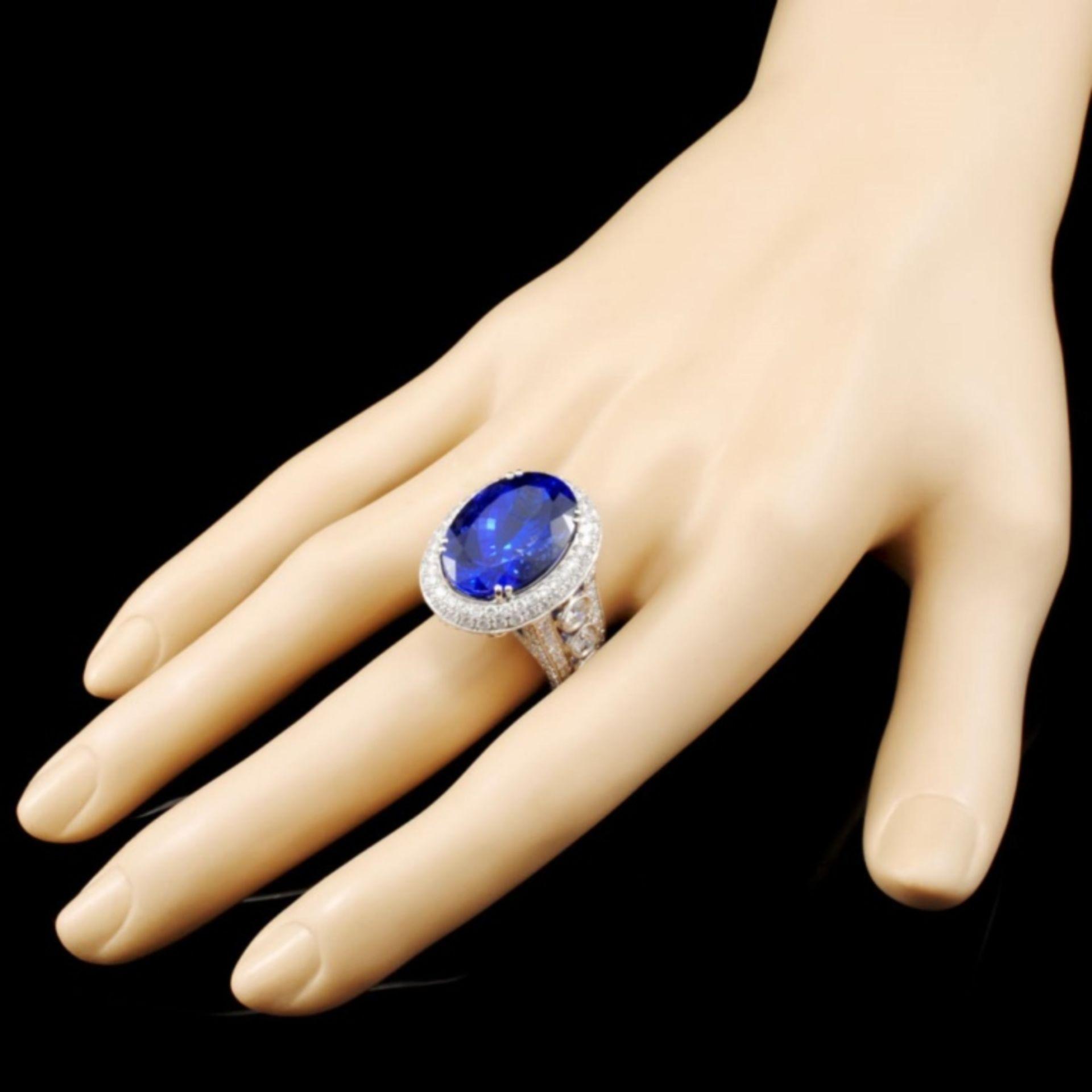 18K Gold 17.41ct Tanzanite & 3.68ctw Diamond Ring - Image 3 of 5
