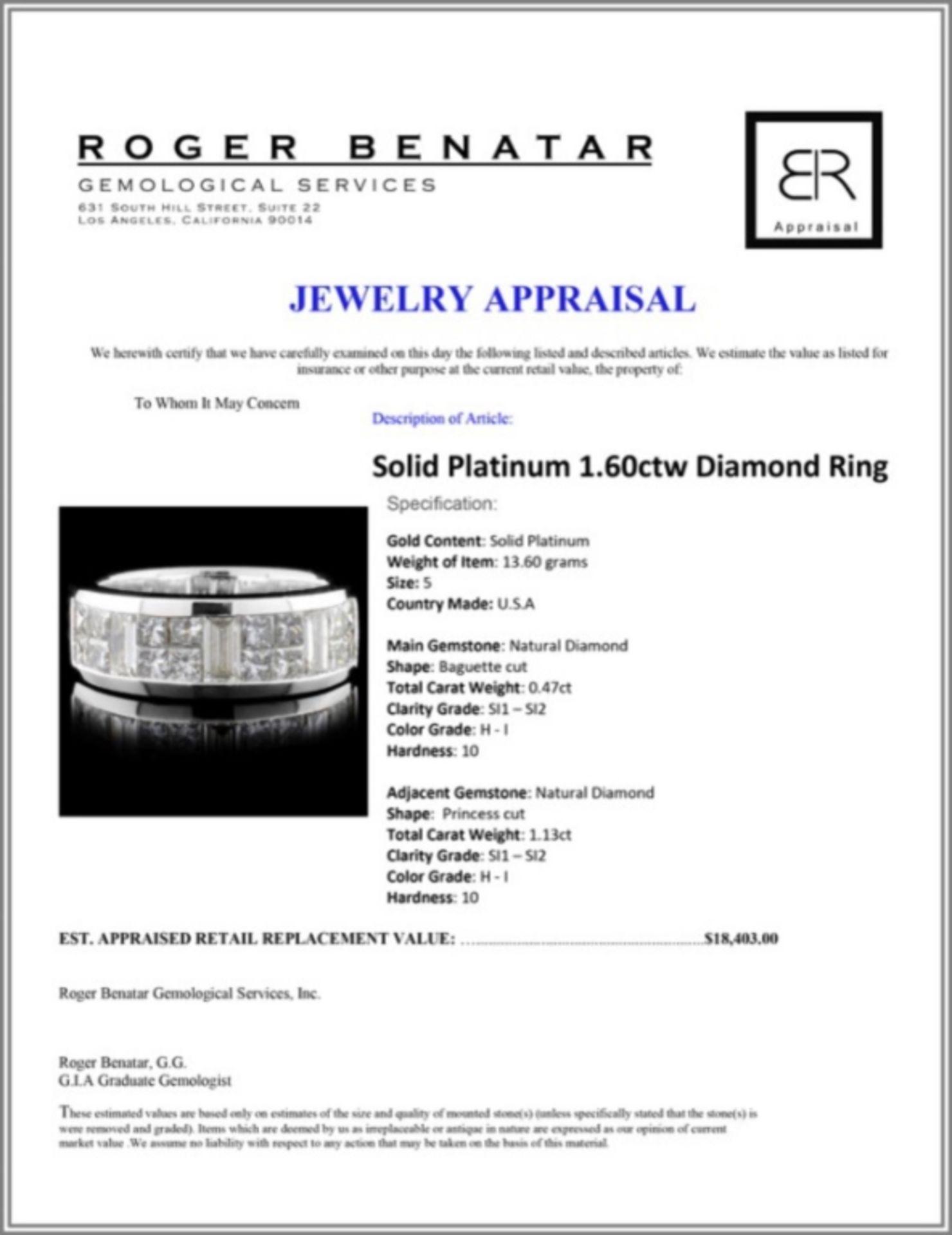 Solid Platinum 1.60ctw Diamond Ring - Image 3 of 3