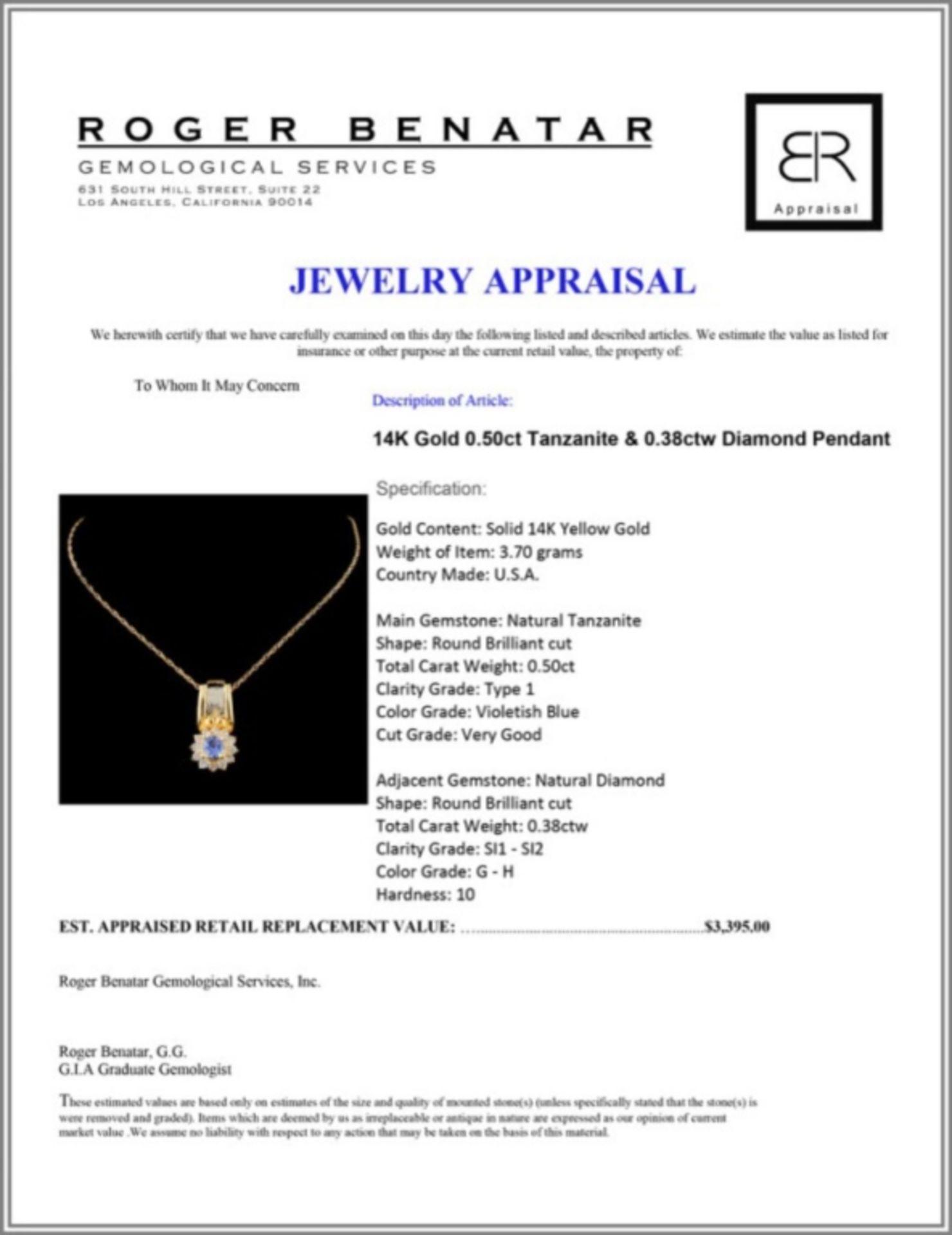 14K Gold 0.50ct Tanzanite & 0.38ctw Diamond Pendan - Image 3 of 3
