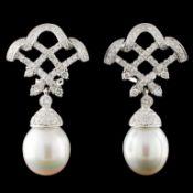 14K Gold 12.00mm Pearl & 1.12ctw Diamond Earrings