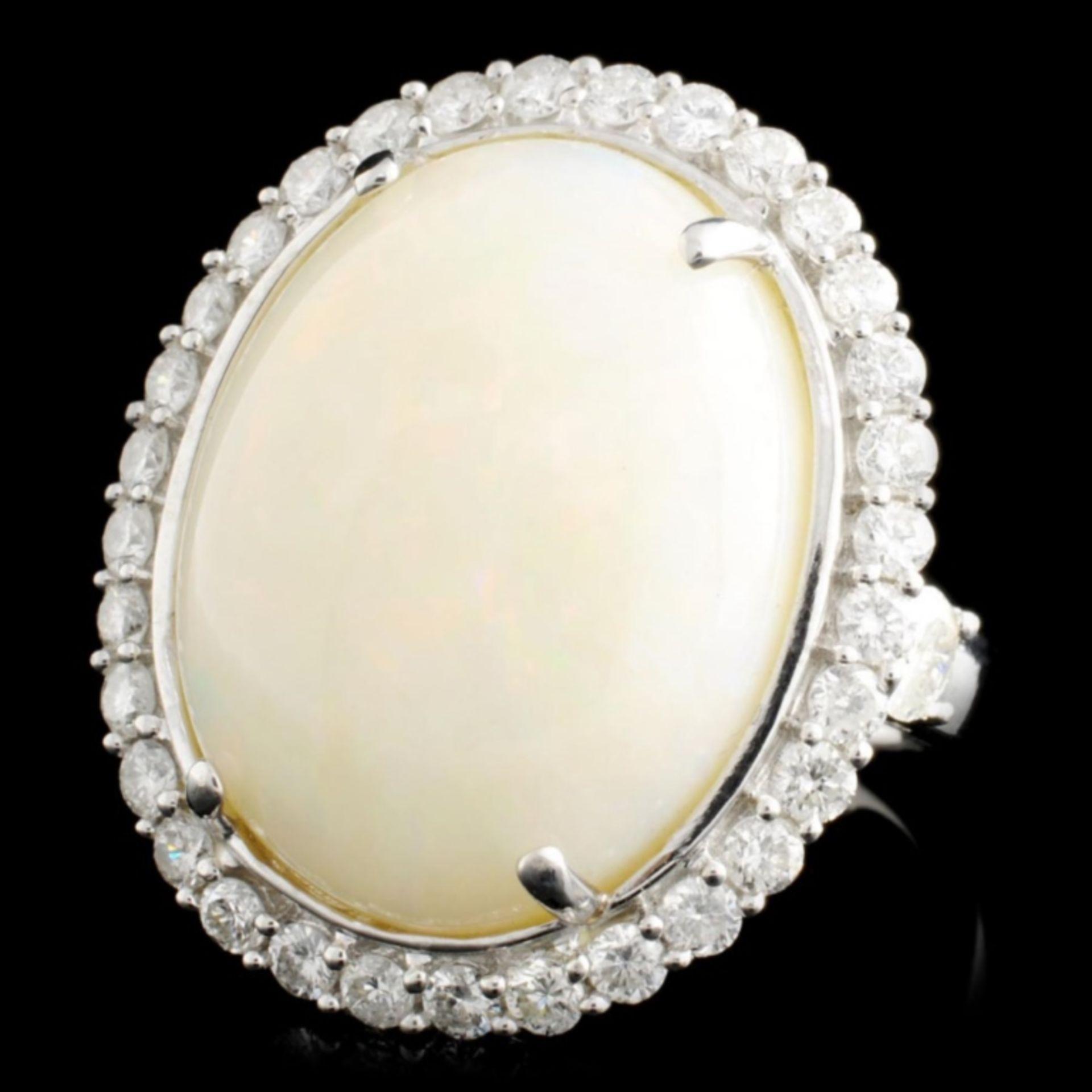 14K Gold 13.31ct Opal & 1.45ctw Diamond Ring - Image 2 of 3