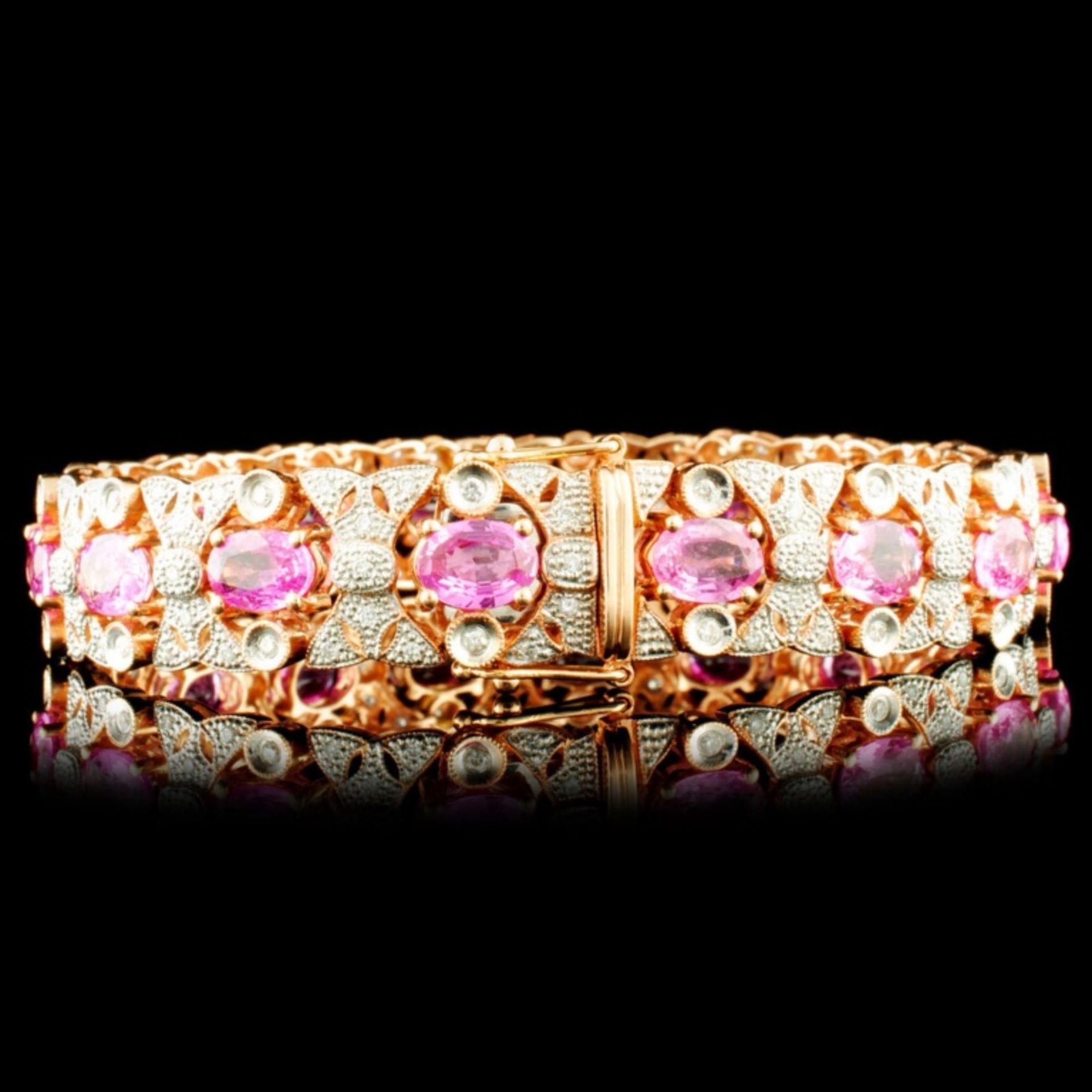 14K Gold 13.81ct Sapphire & 1.20ctw Diamond Bracel - Image 2 of 3