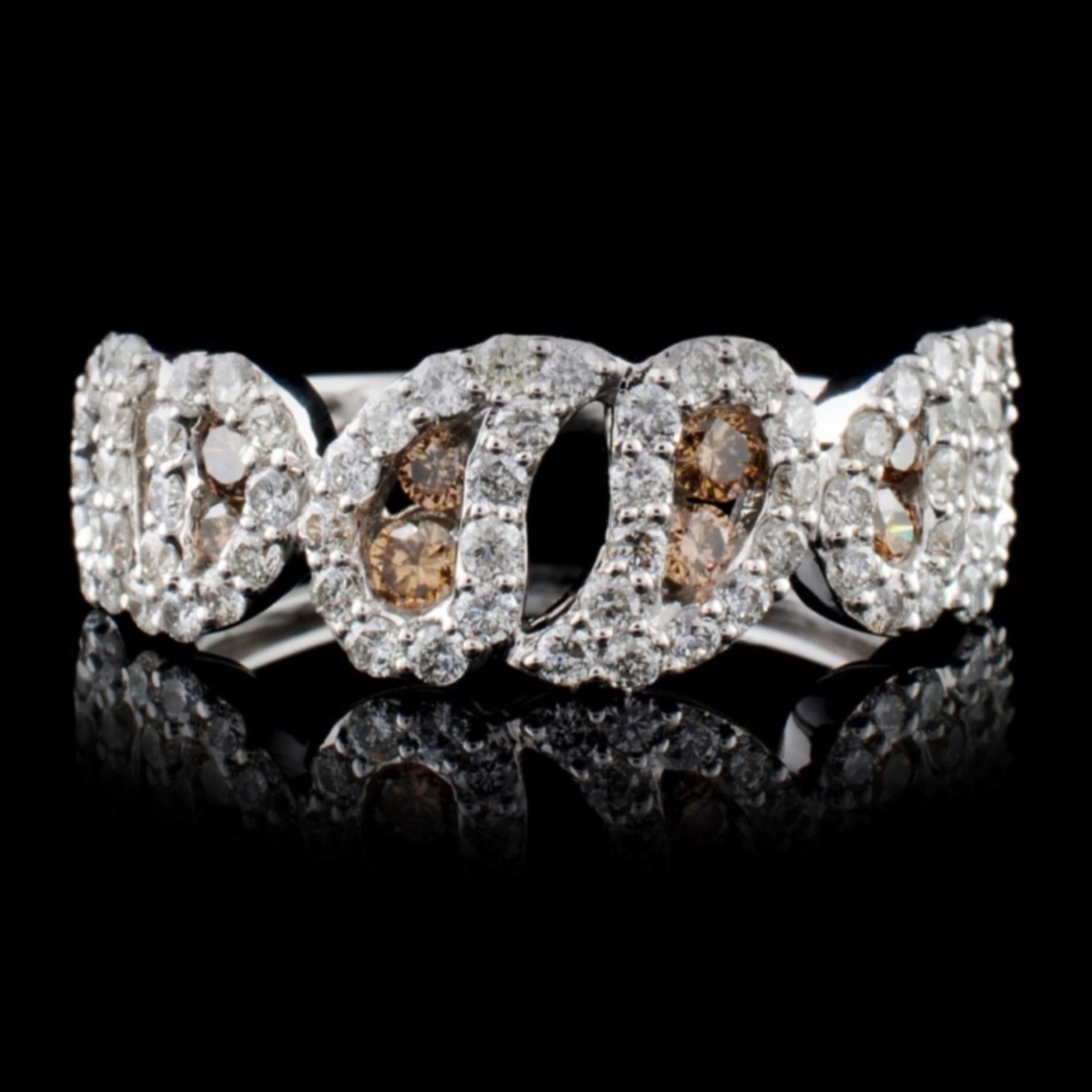 14K White Gold 1.06ctw Fancy Color Diamond Ring