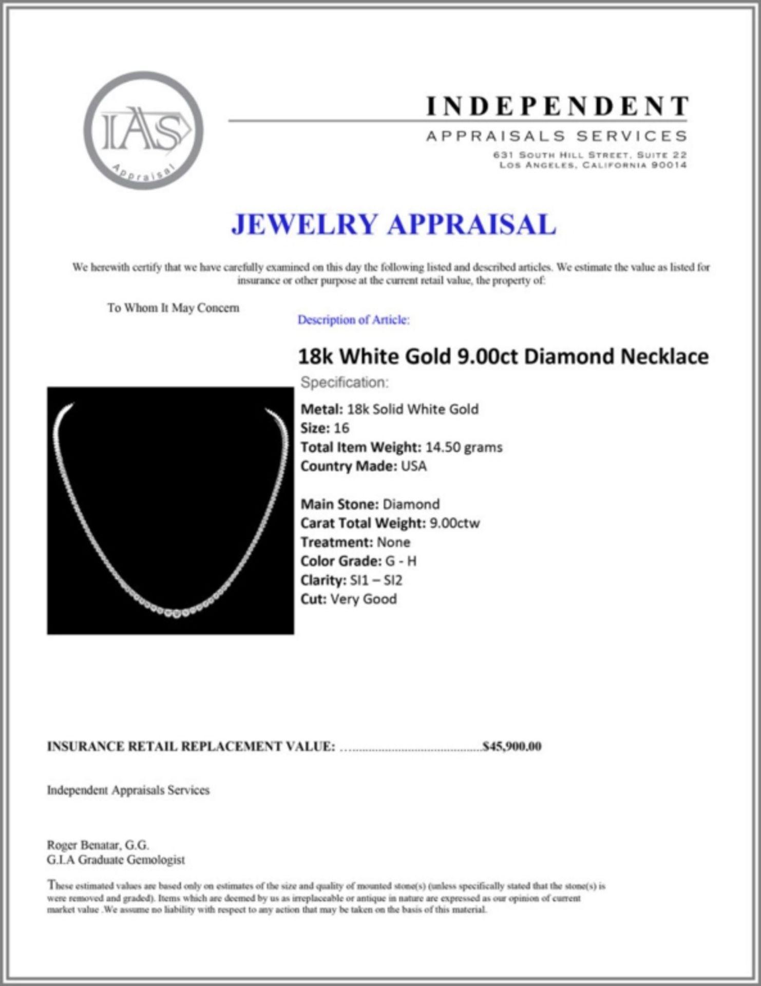 ^18k White Gold 9.00ct Diamond Necklace - Image 5 of 5