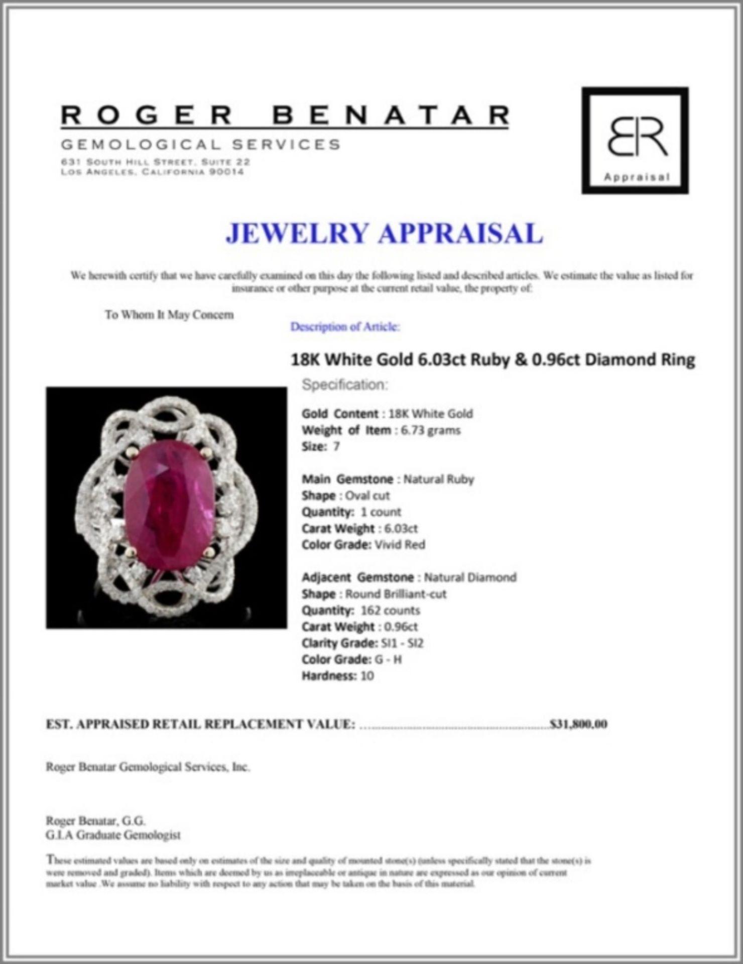 18K White Gold 6.03ct Ruby & 0.96ct Diamond Ring - Image 4 of 4