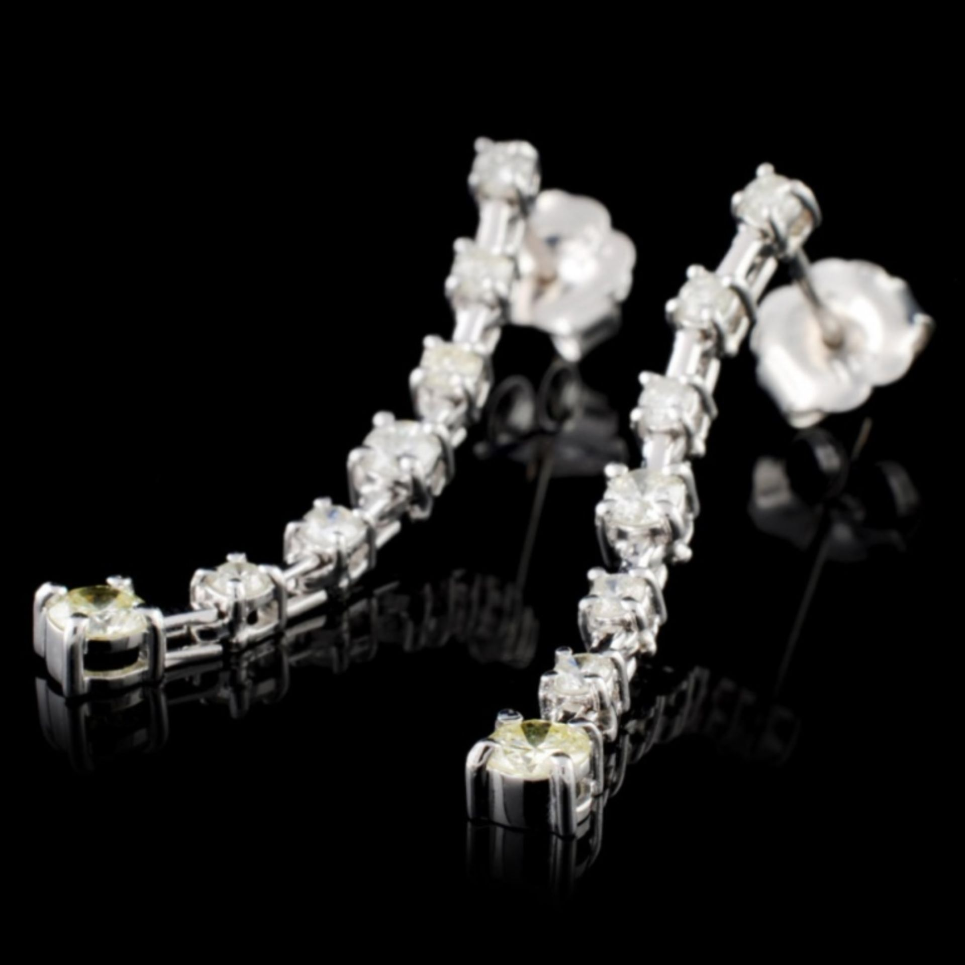 18K White Gold 0.50ctw Diamond Earrings - Image 2 of 3