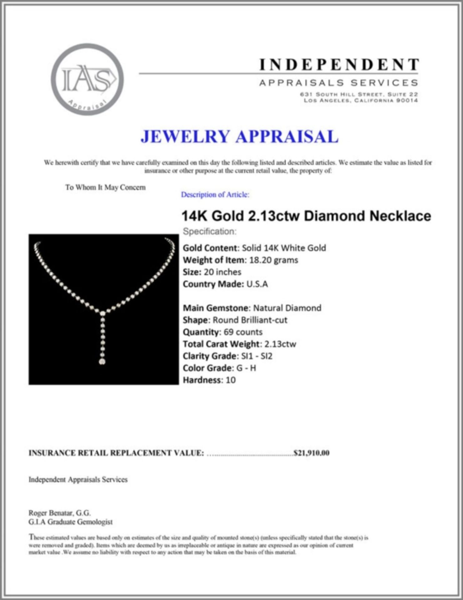 14K Gold 2.13ctw Diamond Necklace - Image 4 of 4