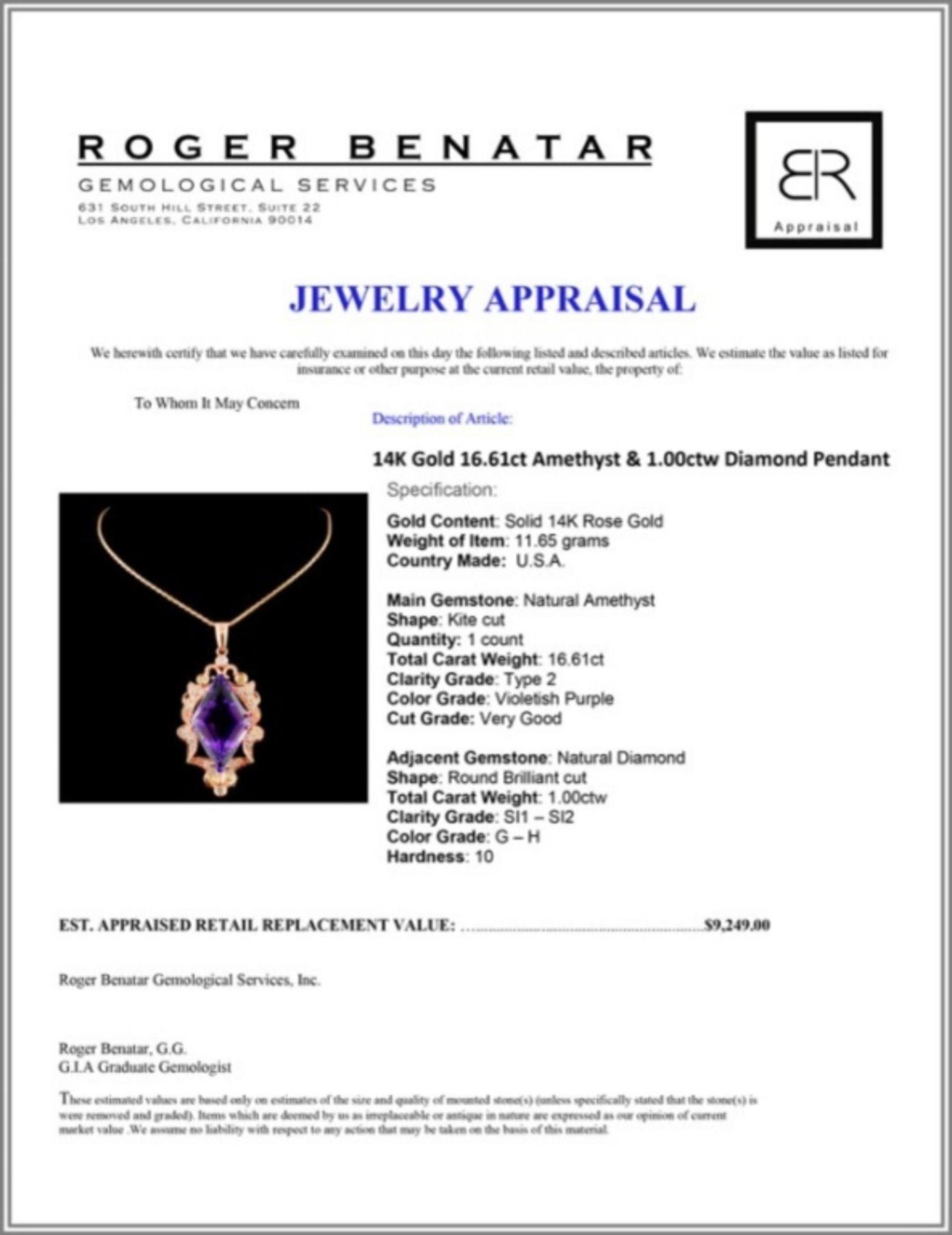 14K Gold 16.61ct Amethyst & 1.00ctw Diamond Pendan - Image 3 of 3