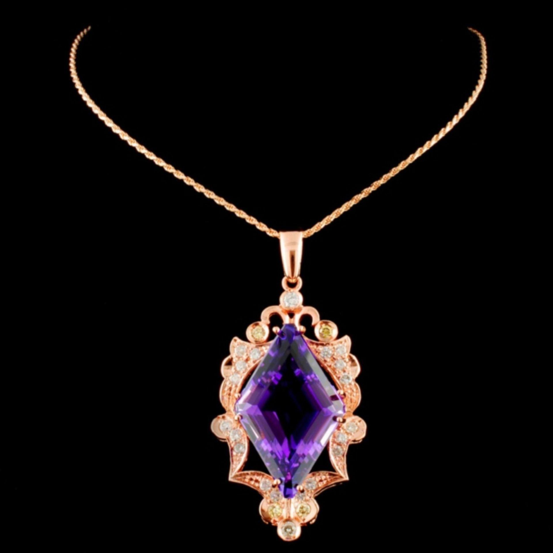 14K Gold 16.61ct Amethyst & 1.00ctw Diamond Pendan - Image 2 of 3