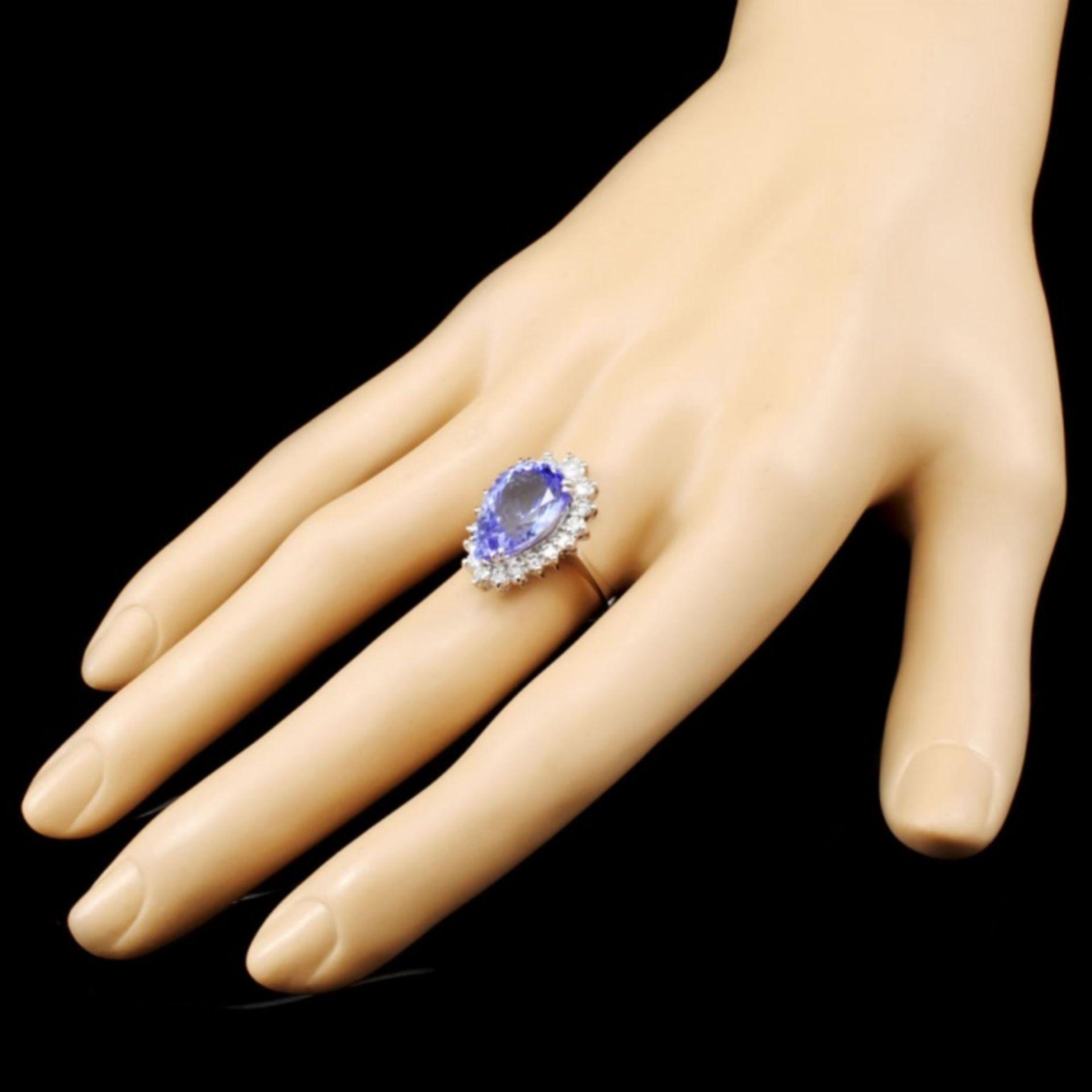 14K Gold 7.07ct Tanzanite & 1.01ctw Diamond Ring - Image 3 of 5