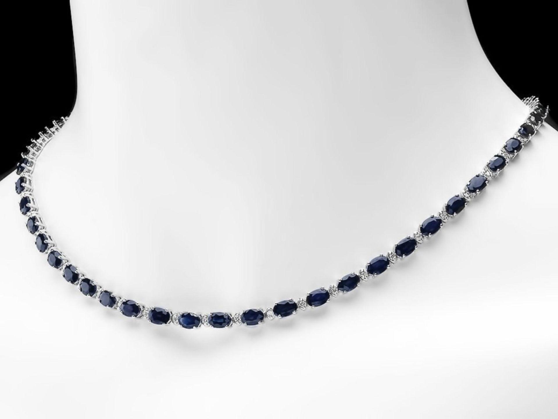 `14k Gold 25.00ct Sapphire & 1.00ct Diamond Neckla - Image 3 of 5