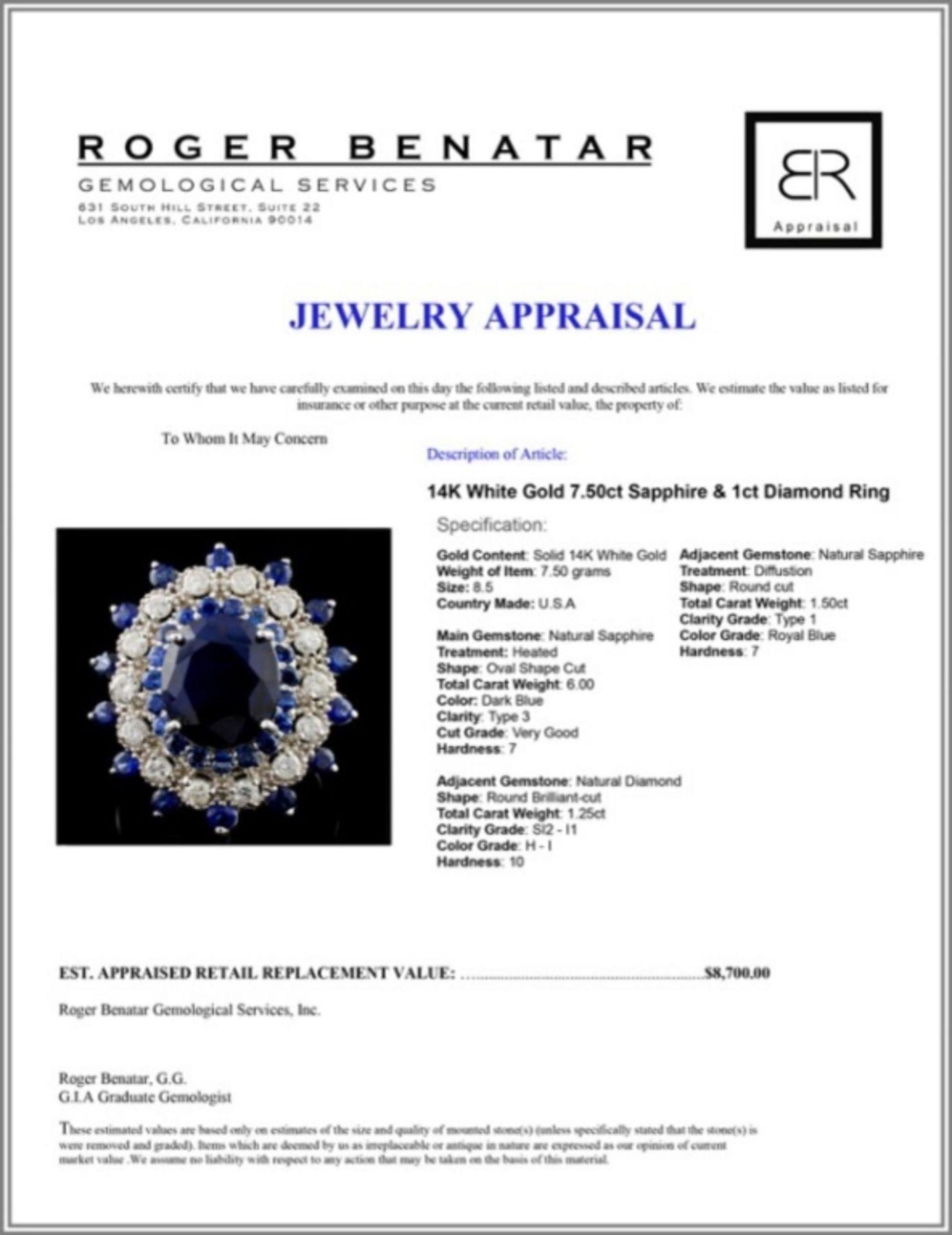 14K White Gold 7.50ct Sapphire & 1ct Diamond Ring - Image 4 of 4