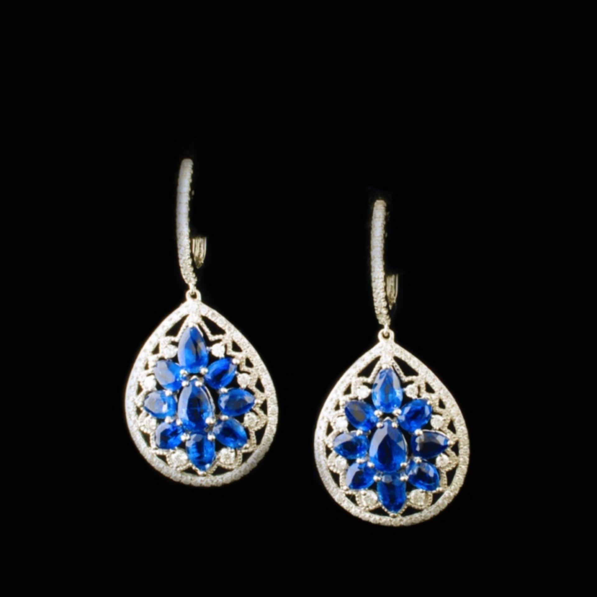 18K White Gold 5.13ct Kyanite & 0.76ctw Diamond Ea - Image 2 of 3