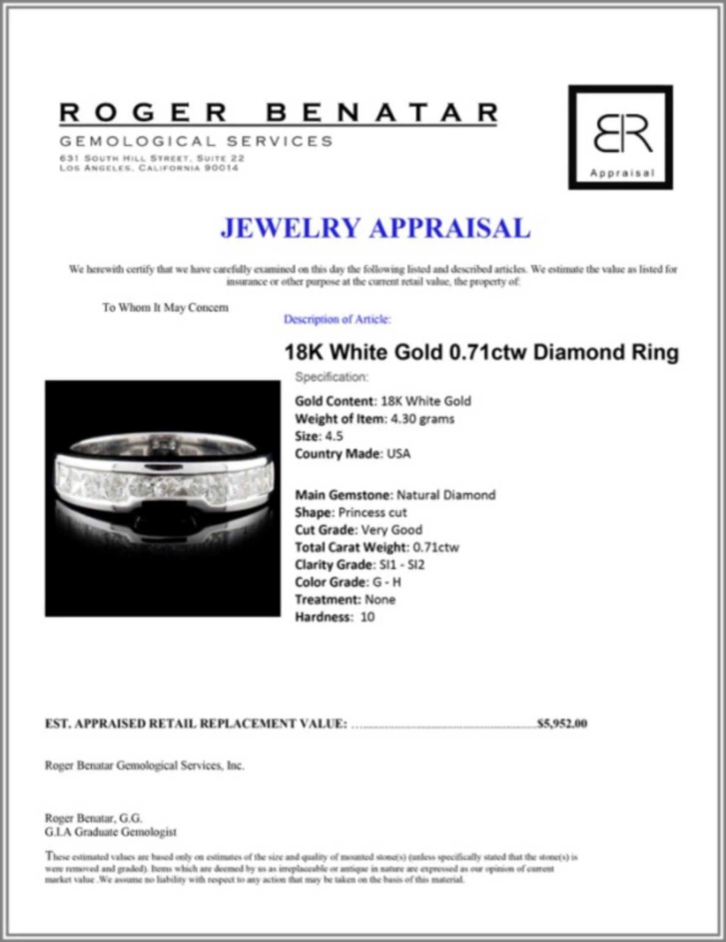 18K White Gold 0.71ctw Diamond Ring - Image 3 of 3