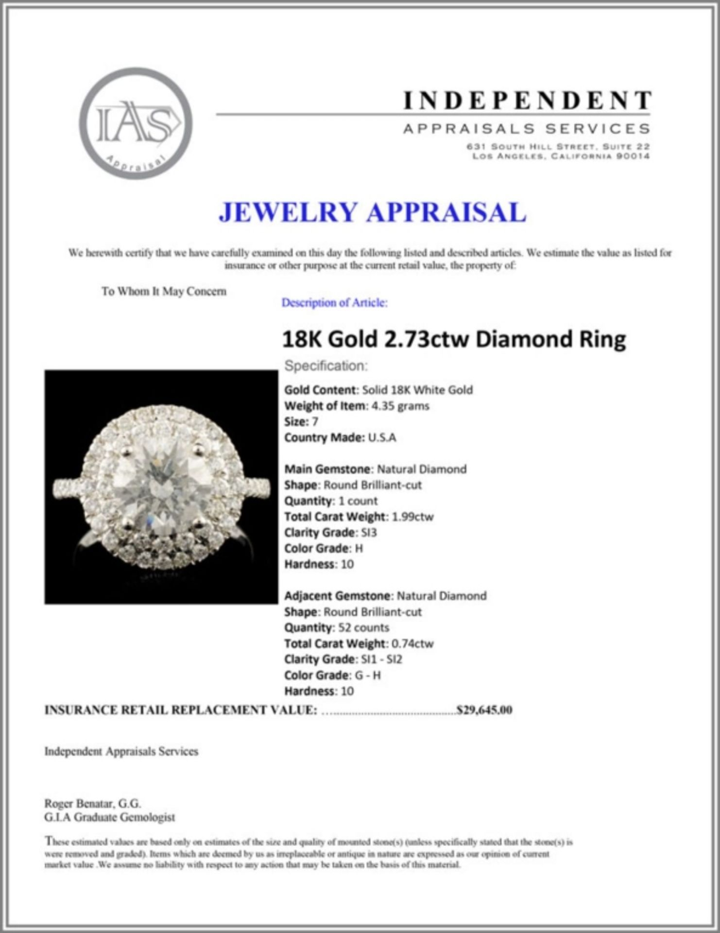 18K Gold 2.73ctw Diamond Ring - Image 7 of 7