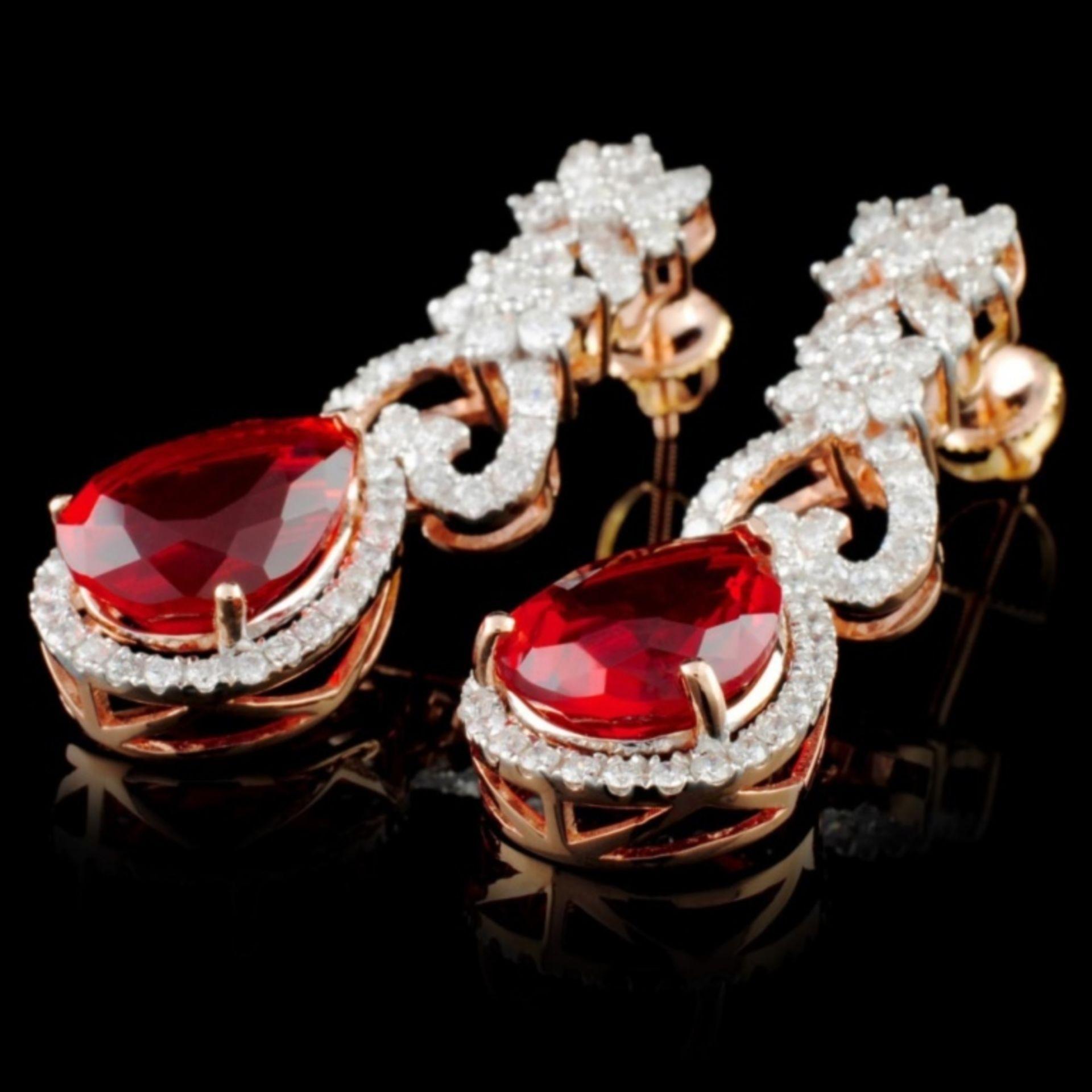 14K Gold 5.90ctw Fire Opal & 2.10ctw Diamond Earri - Image 2 of 3