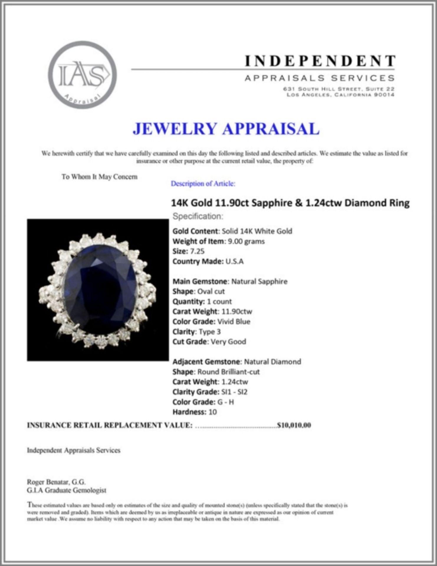 14K Gold 11.90ct Sapphire & 1.24ctw Diamond Ring - Image 5 of 5