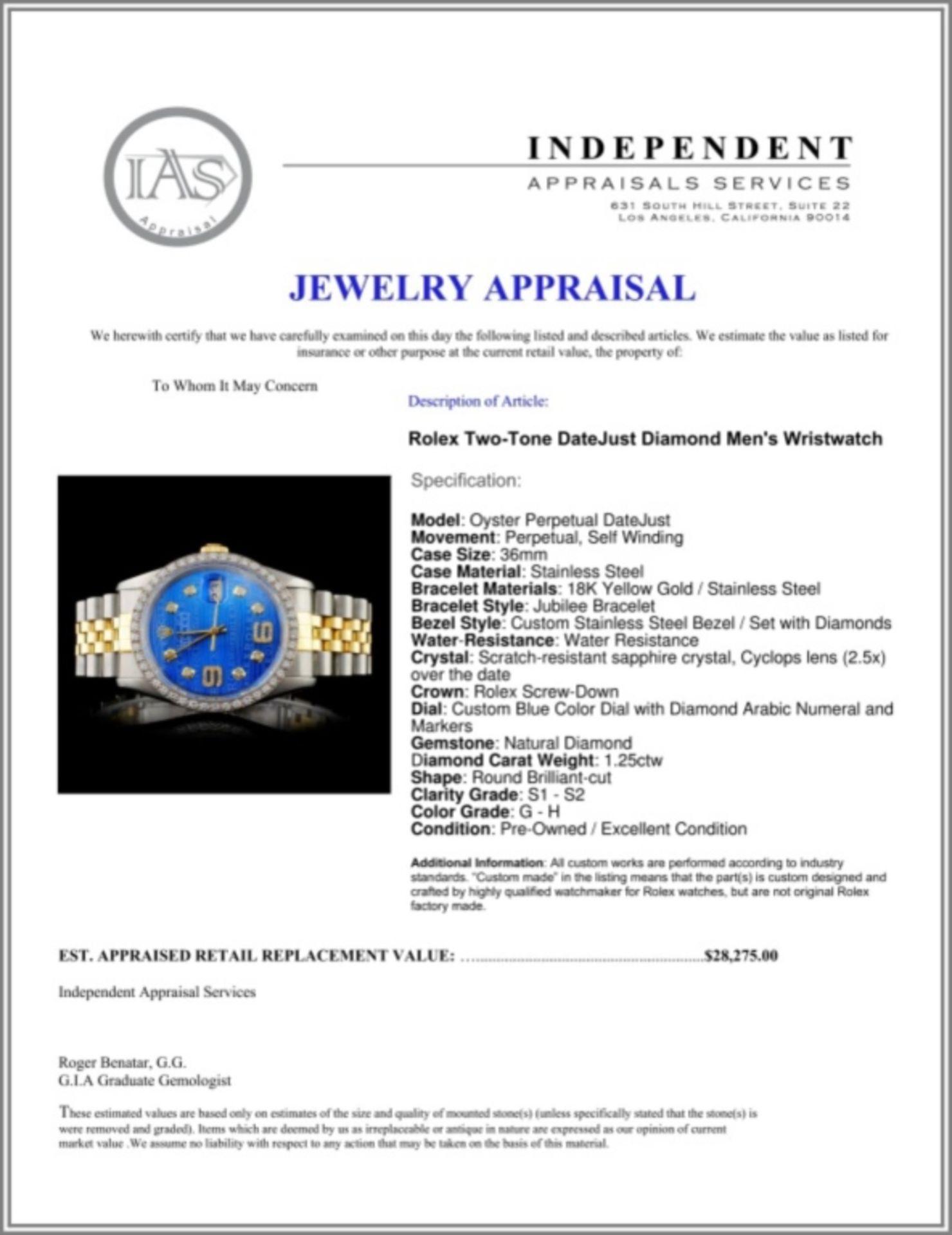Rolex YG/SS DateJust Diam 36MM Wristwatch - Image 5 of 5
