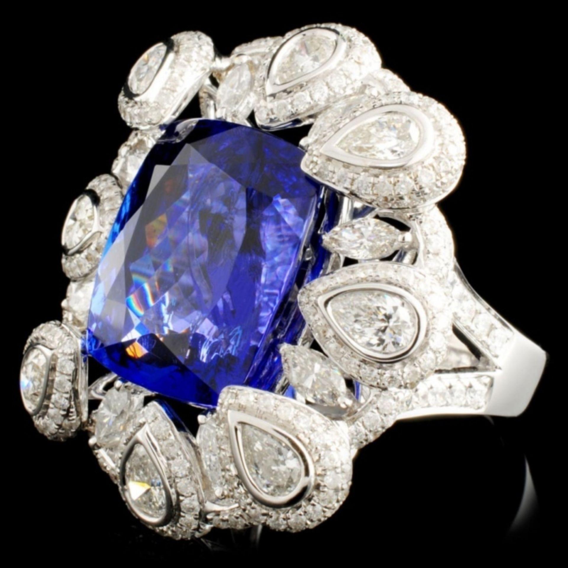 18K Gold 17.56ct Tanzanite & 3.50ctw Diamond Ring - Image 2 of 5