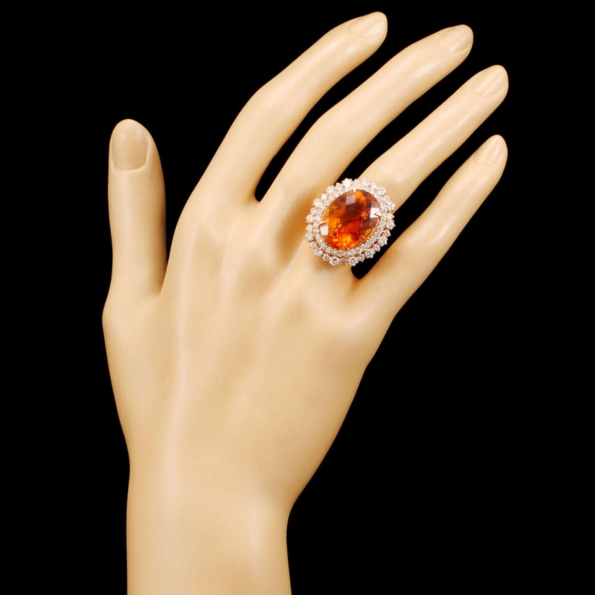 14K Gold 13.82ct Citrine & 2.30ctw Diamond Ring - Image 4 of 5