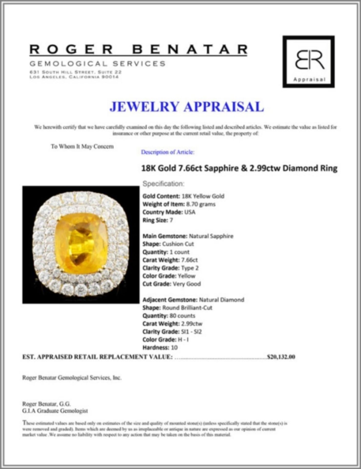 18K Gold 7.66ct Sapphire & 2.99ctw Diamond Ring - Image 5 of 5