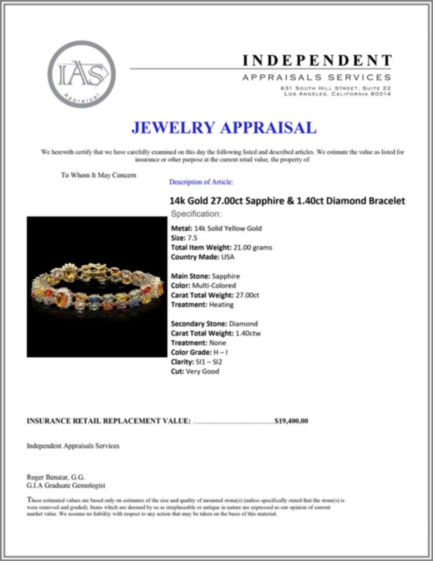 `14k Gold 27.00ct Sapphire & 1.40ct Diamond Bracel - Image 4 of 4