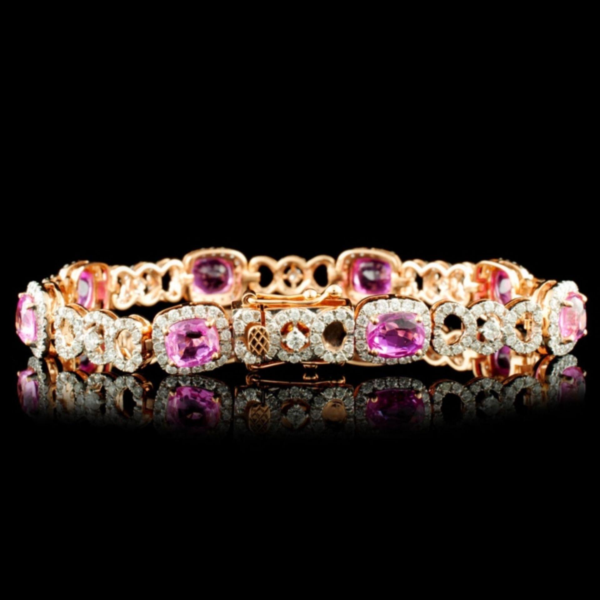 18K Gold 11.04ct Sapphire & 2.69ctw Diamond Bracel - Image 2 of 4