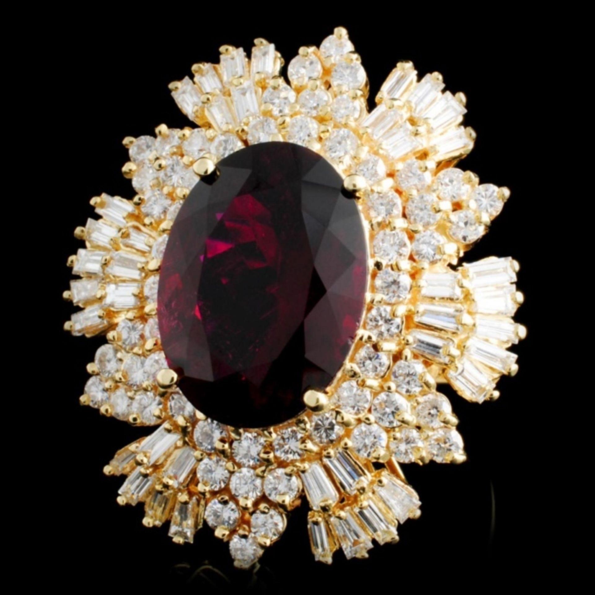 14K Gold 7.83ct Tourmaline & 2.55ctw Diamond Ring - Image 2 of 4