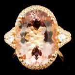 14K Gold 8.34ct Morganite & 0.70ctw Diamond Ring