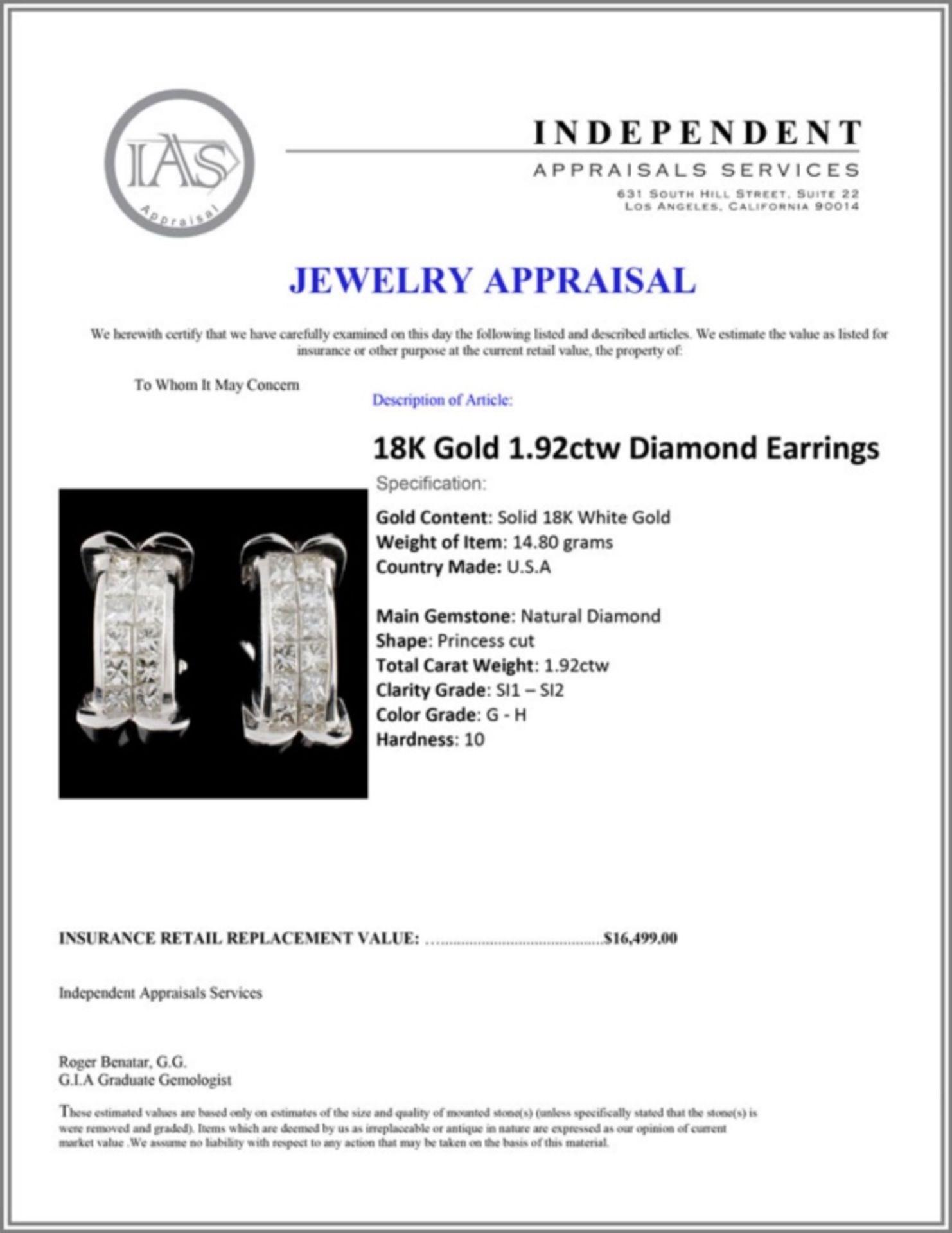 18K Gold 1.92ctw Diamond Earrings - Image 3 of 3