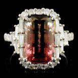 18K Gold 5.34ct Tourmaline & 1.31ctw Diamond Ring