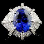 18K White Gold 5.49ct Tanzanite & 1.96ct Diamond R