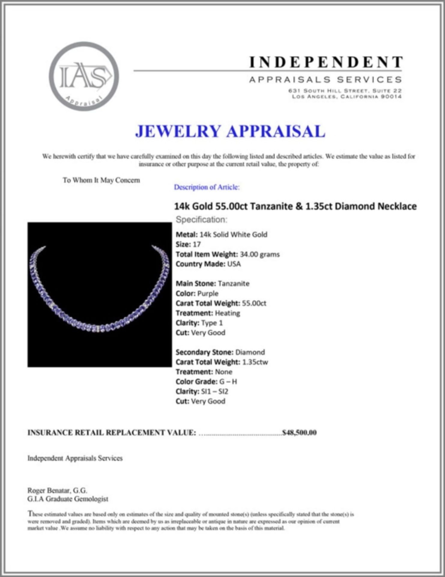 `14k Gold 55.00ct Tanzanite & 1.35ct Diamond Neckl - Image 5 of 5