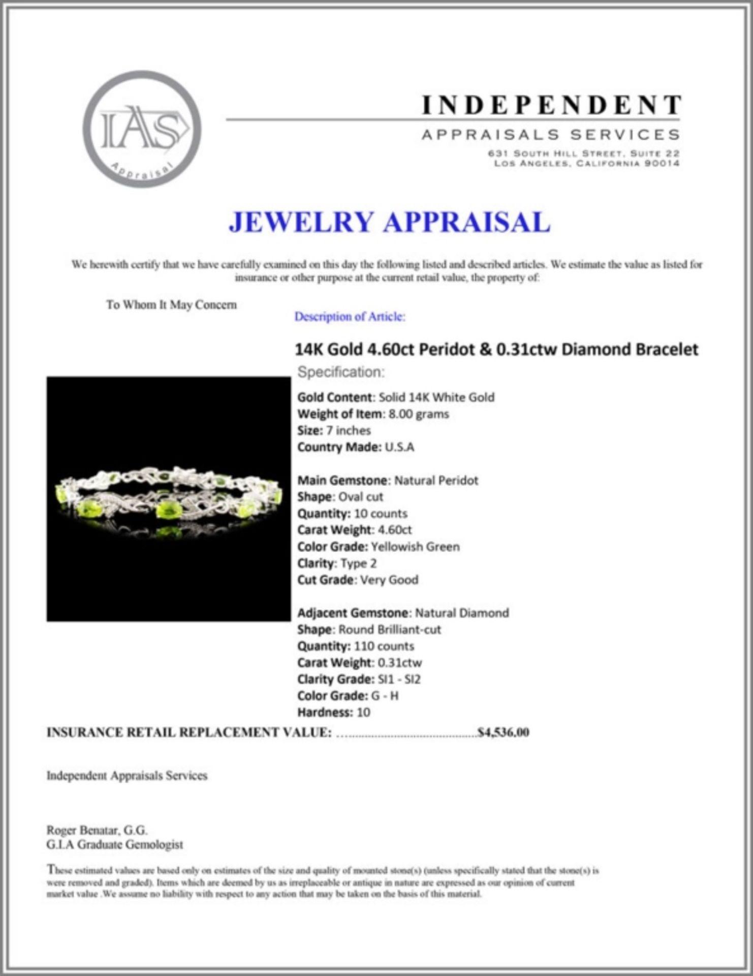 14K Gold 4.60ct Peridot & 0.31ctw Diamond Bracelet - Image 4 of 4