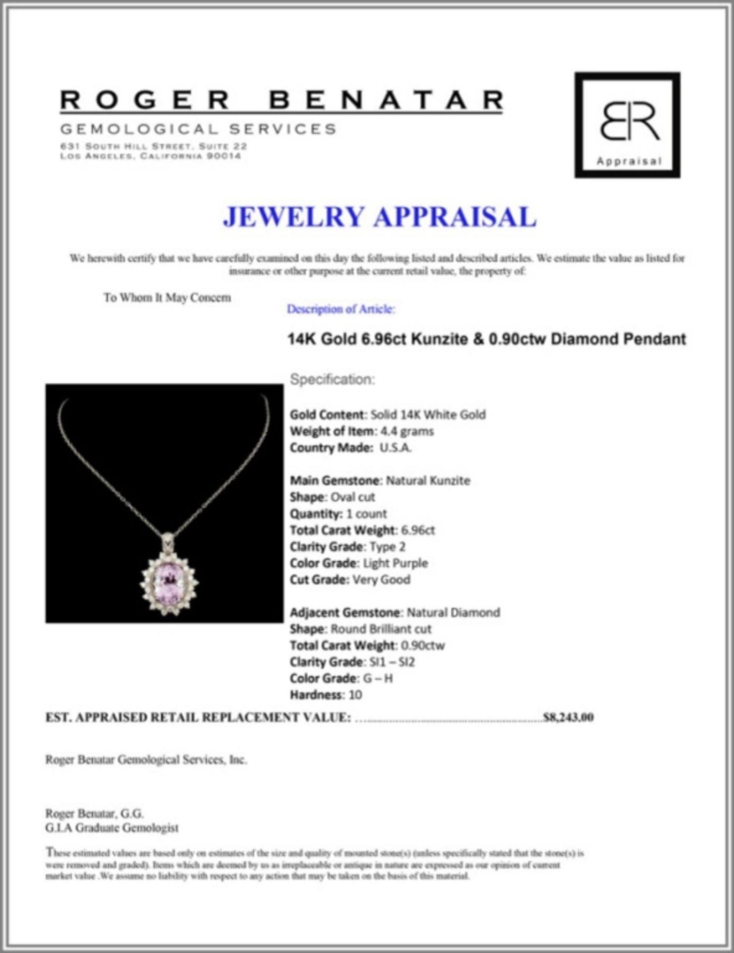 14K Gold 6.96ct Kunzite & 0.90ctw Diamond Pendant - Image 3 of 3