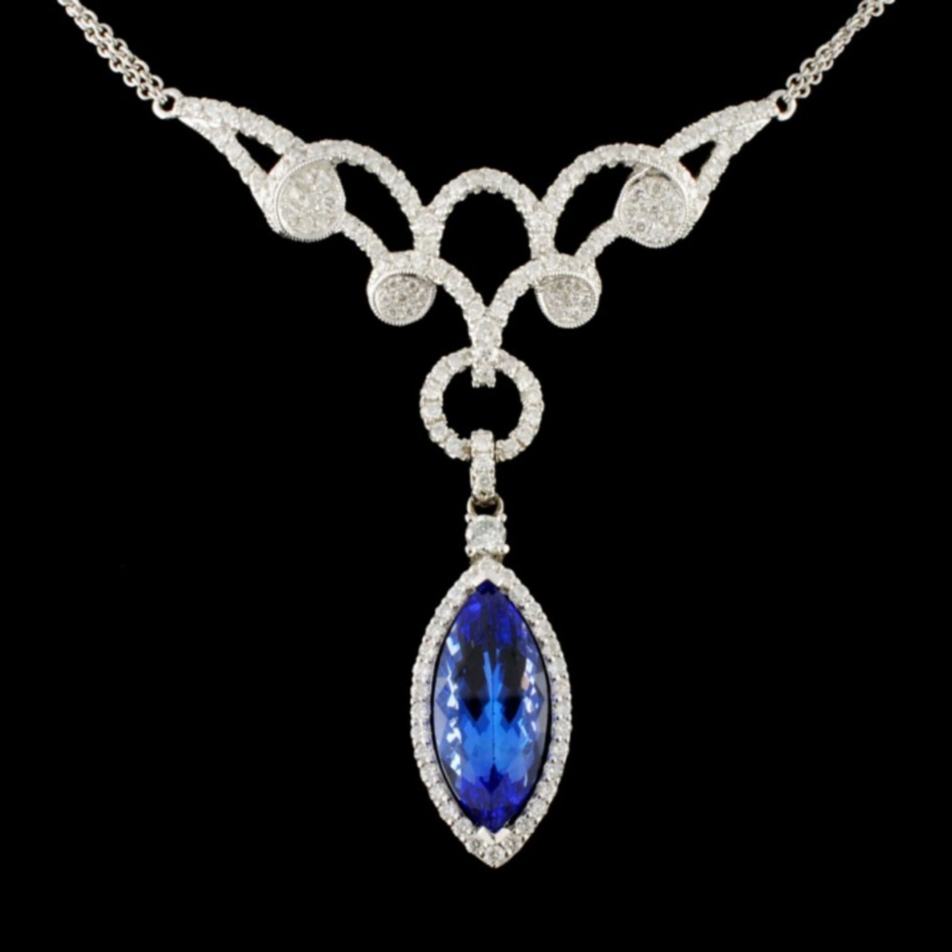 14K Gold 5.20ct Tanzanite & 1.60ctw Diamond Neckla - Image 2 of 4