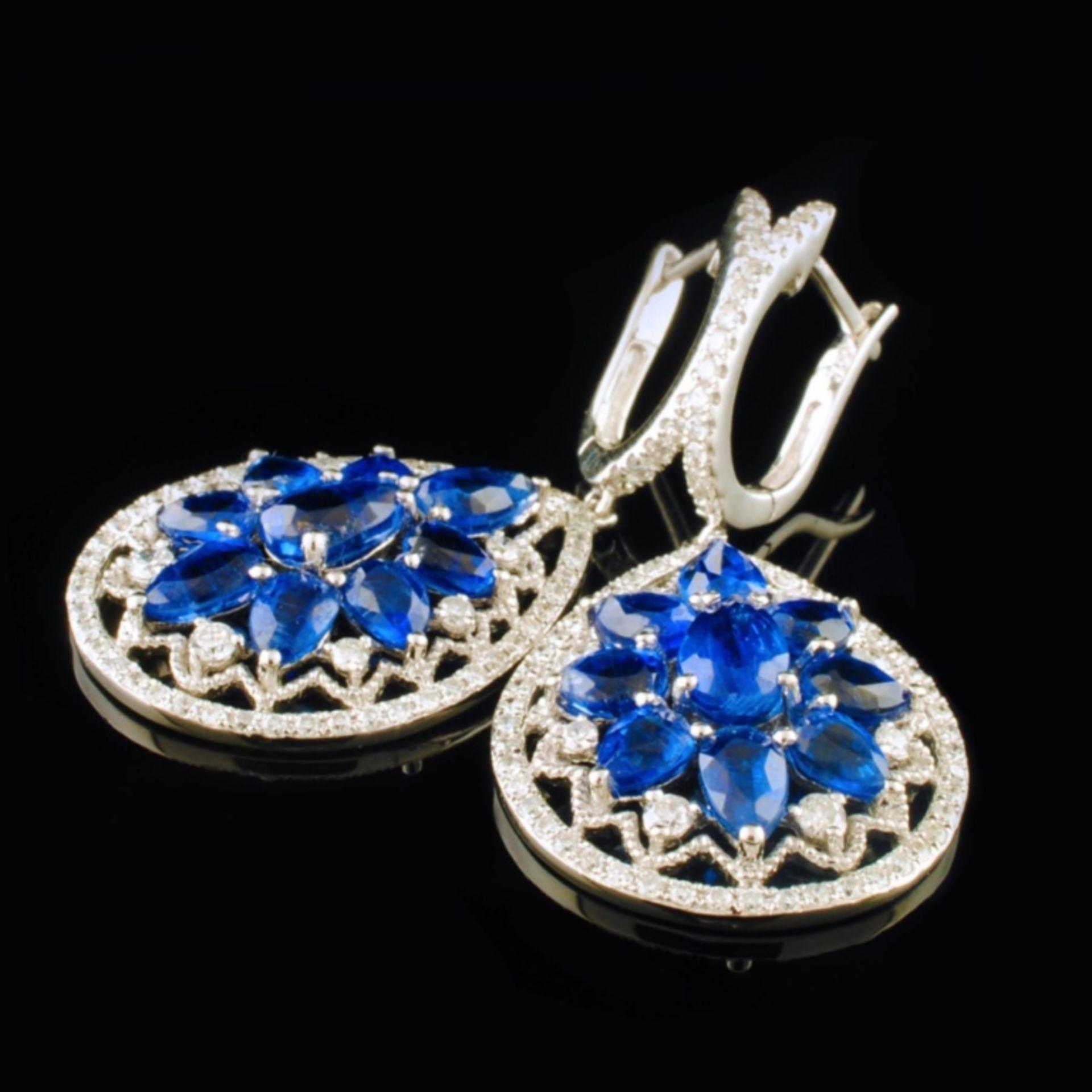 18K White Gold 5.13ct Kyanite & 0.76ctw Diamond Ea