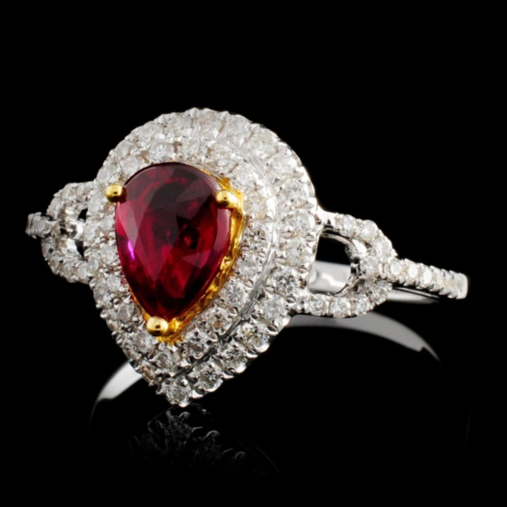 18K White Gold 0.99ct Ruby & 0.45ct Diamond Ring - Image 2 of 4