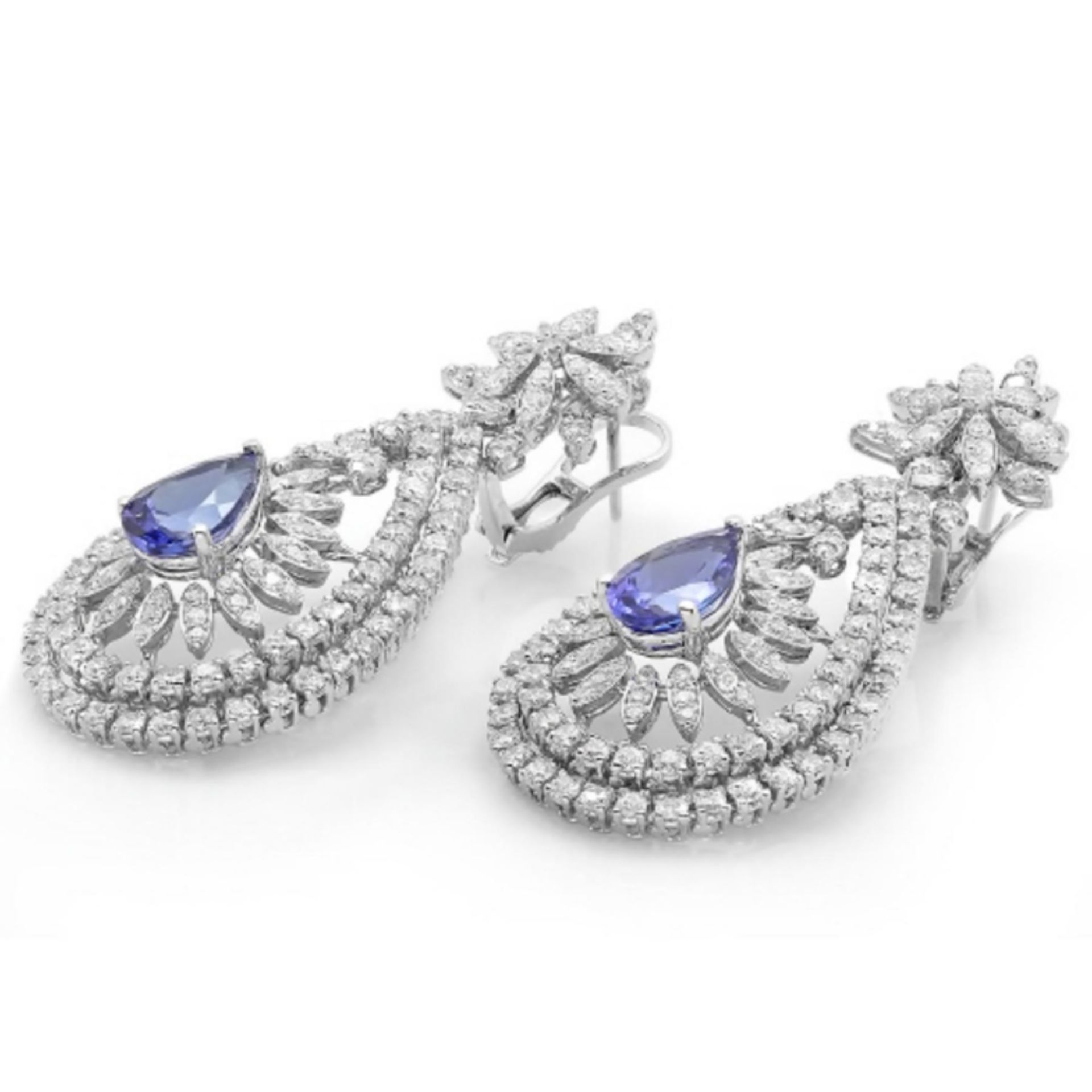 14K Gold 6.00ct Tanzanite & 7.20ct Diamond Earring - Image 2 of 2