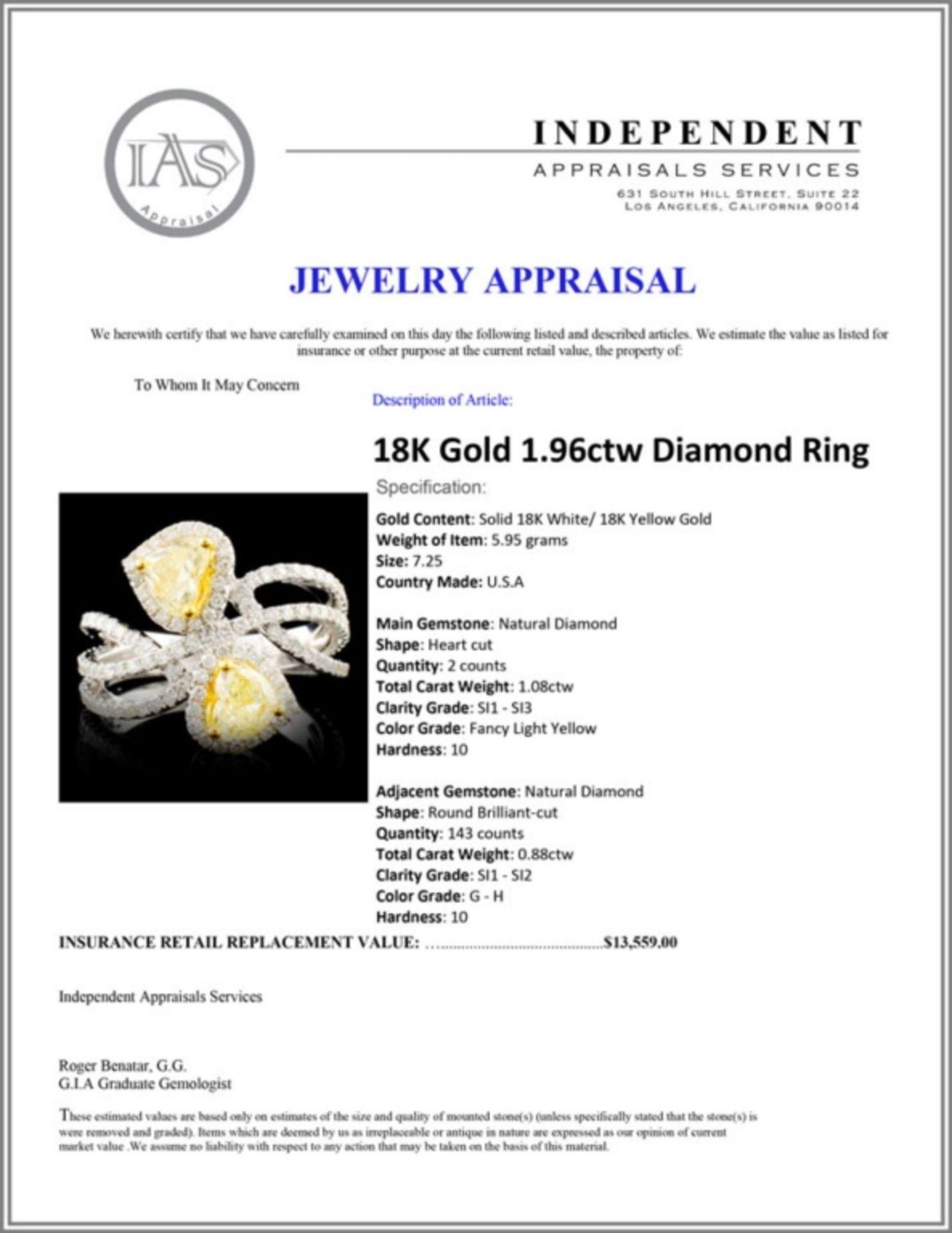18K Gold 1.96ctw Diamond Ring - Image 5 of 5