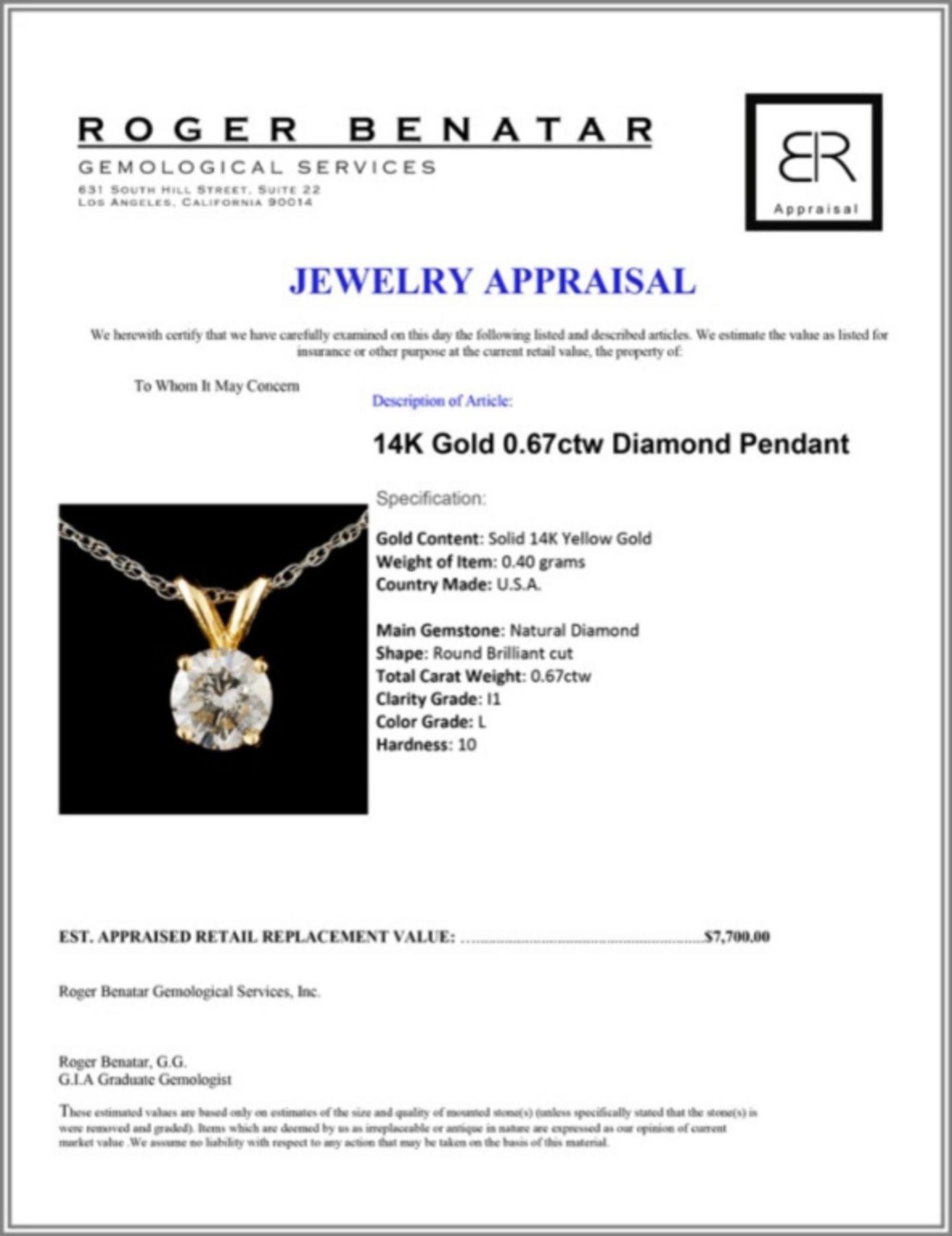 14K Gold 0.67ctw Diamond Pendant - Image 3 of 3
