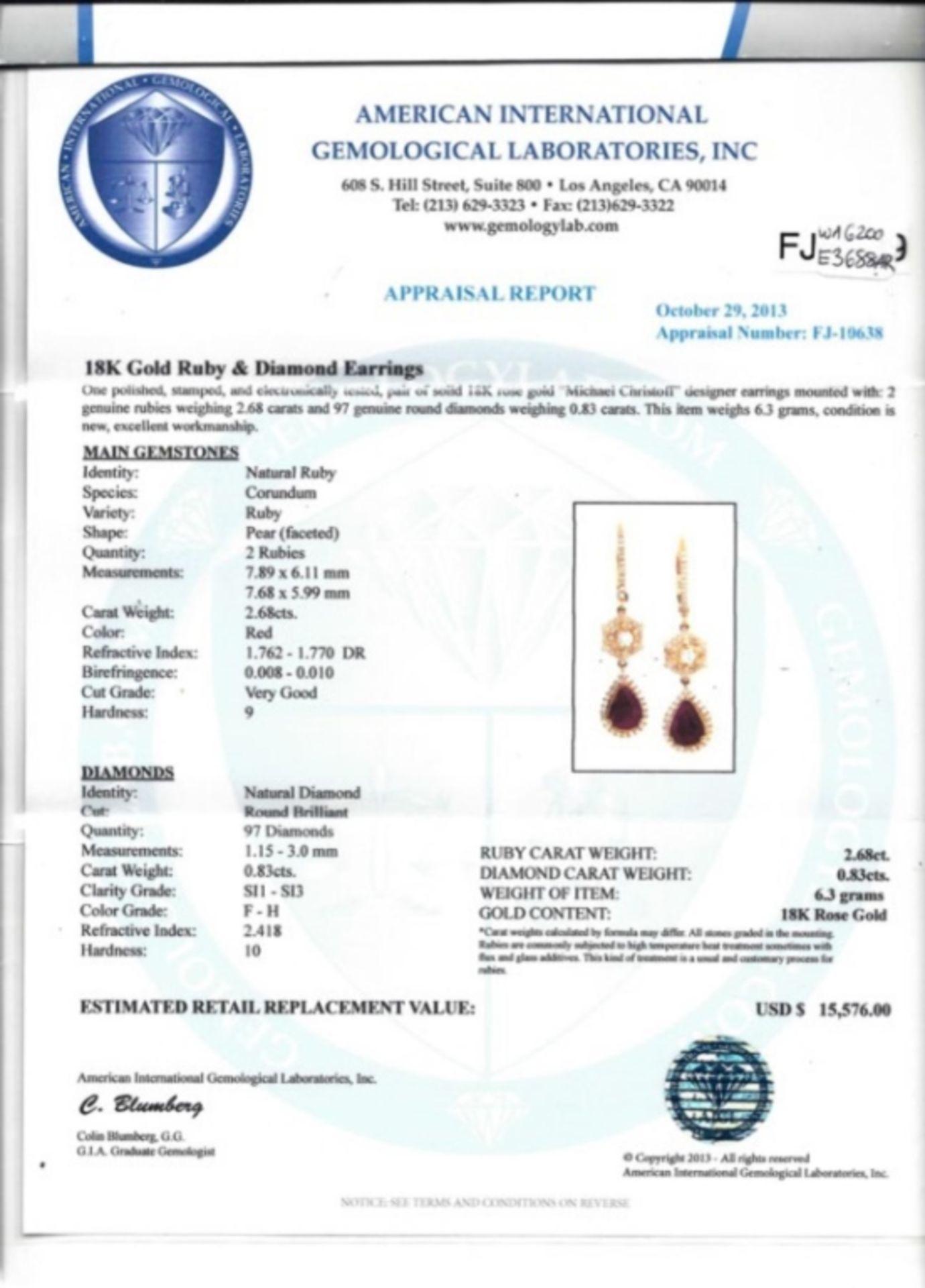 18K Gold 2.68ctw Ruby & 0.83ctw Diamond Earrings - Image 3 of 3