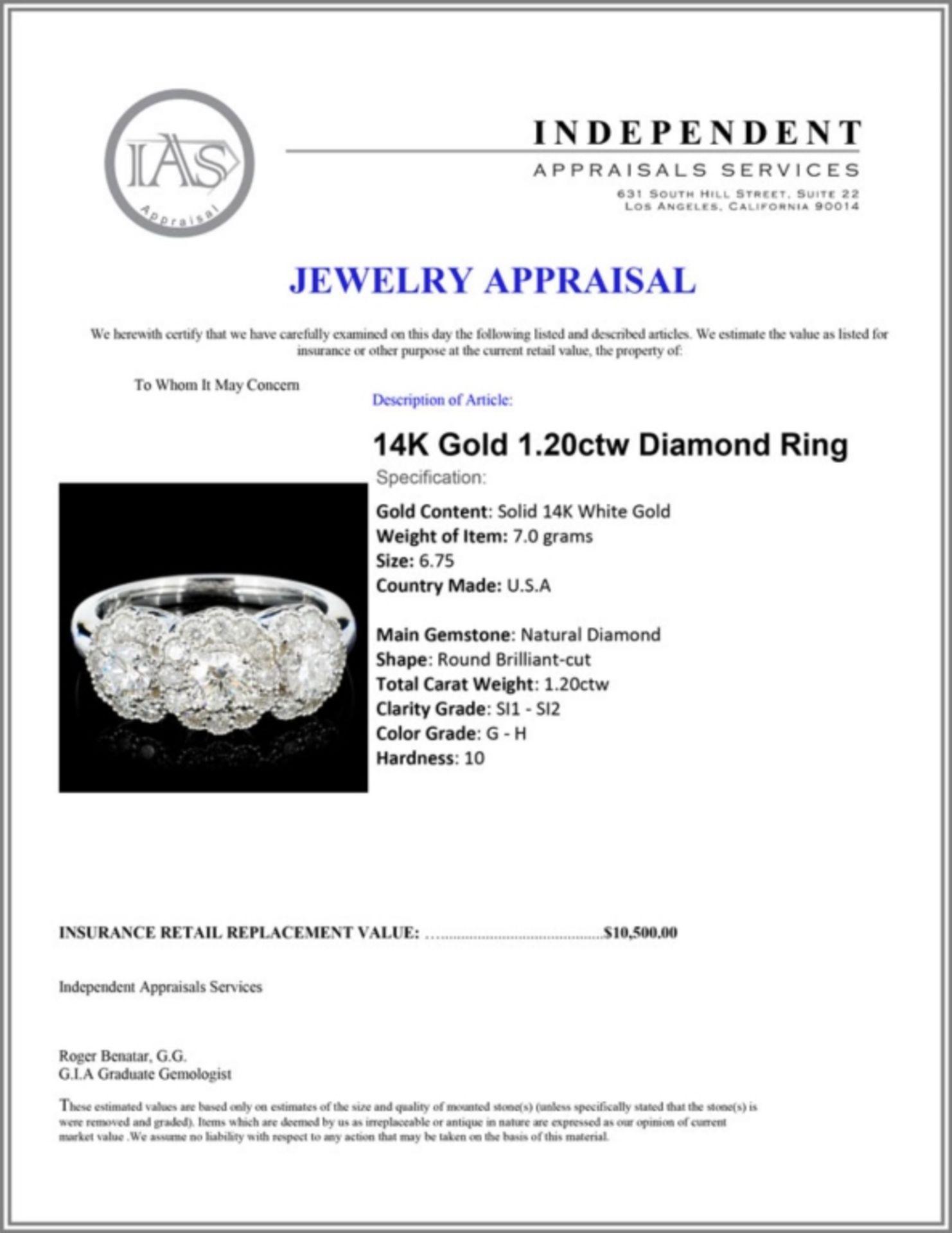 14K Gold 1.20ctw Diamond Ring - Image 4 of 4