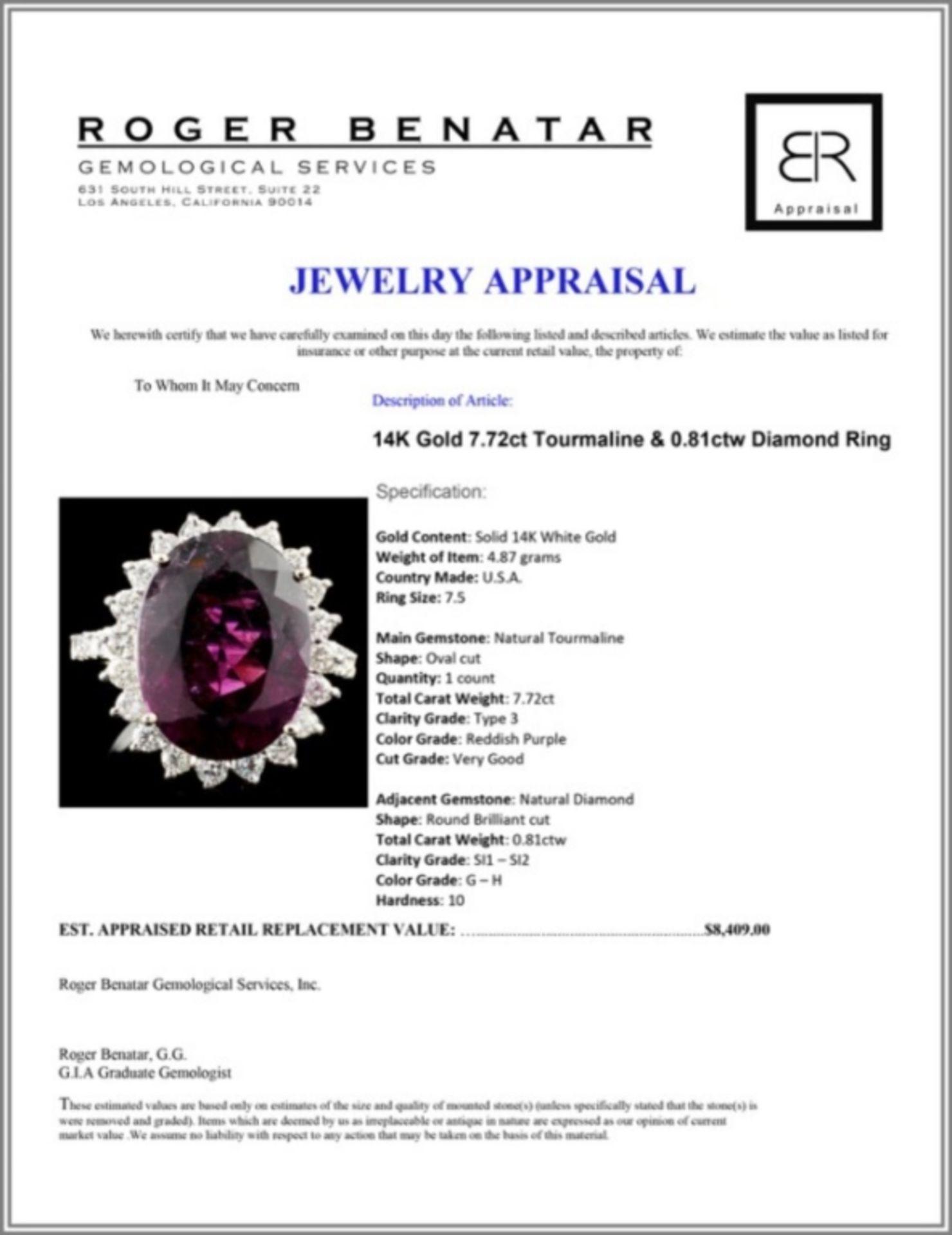14K Gold 7.72ct Tourmaline & 0.81ctw Diamond Ring - Image 4 of 4