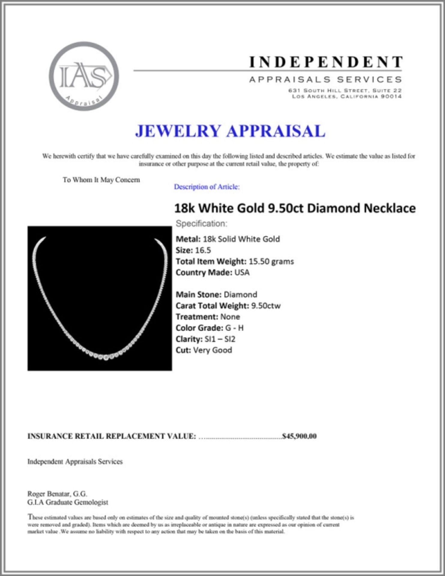 18k White Gold 9.50ct Diamond Necklace - Image 5 of 5