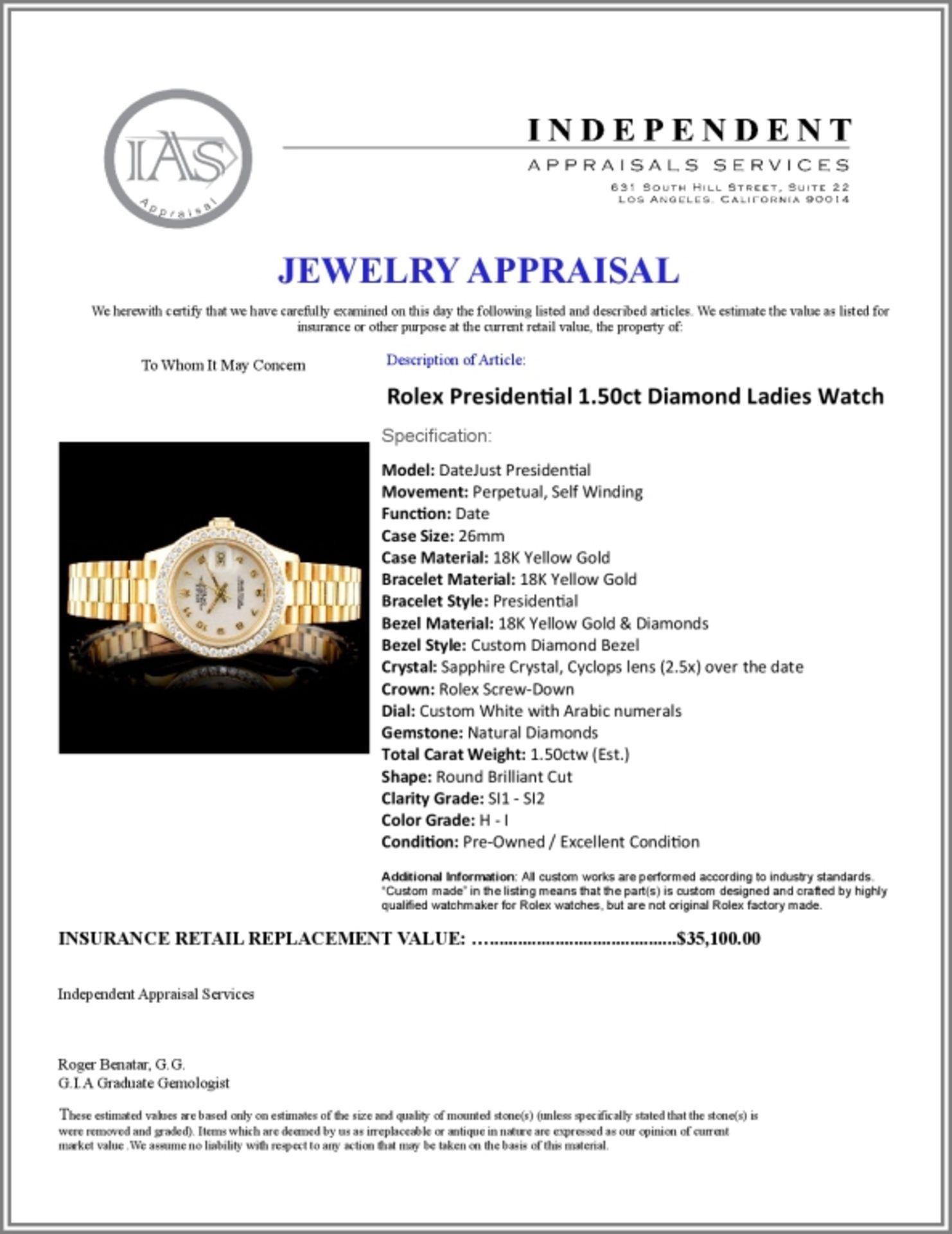 Rolex Presidential Diamond Ladies Watch - Image 6 of 6