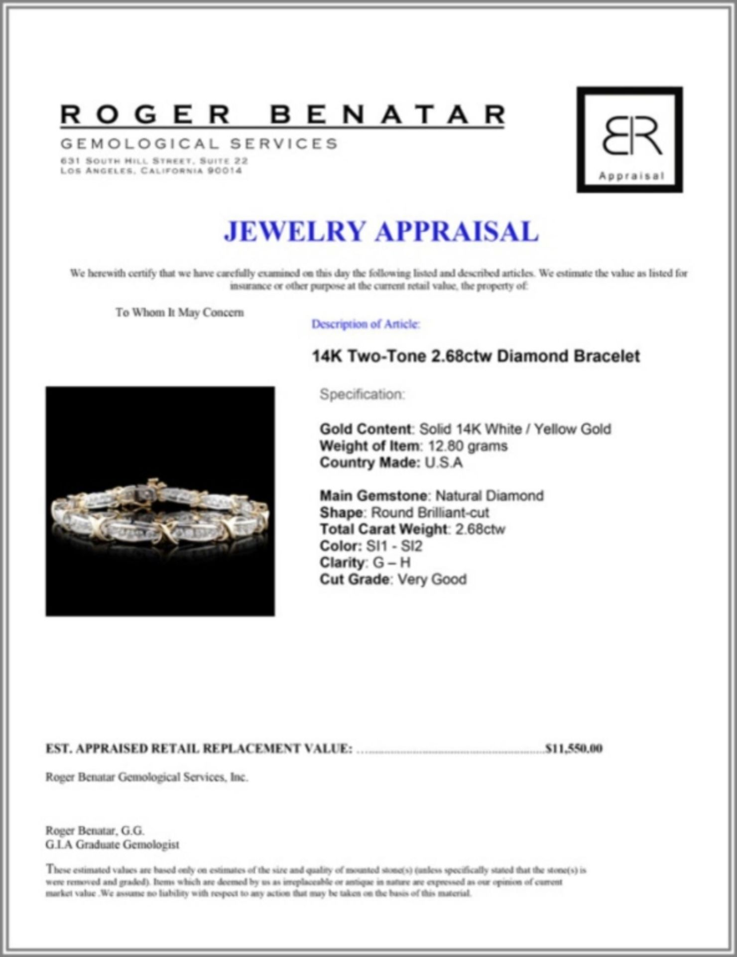 14K Two-Tone 2.68ctw Diamond Bracelet - Image 3 of 3