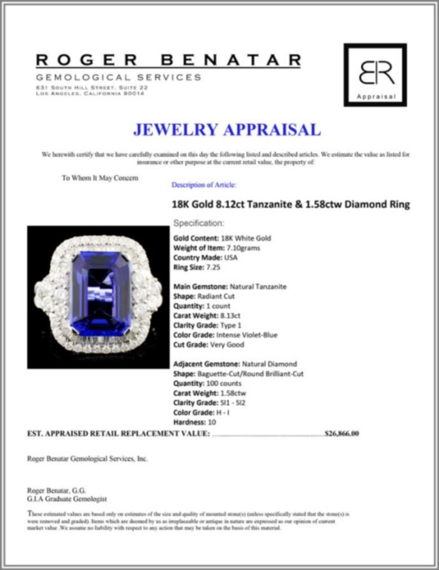18K Gold 8.12ct Tanzanite & 1.58ctw Diamond Ring - Image 5 of 5